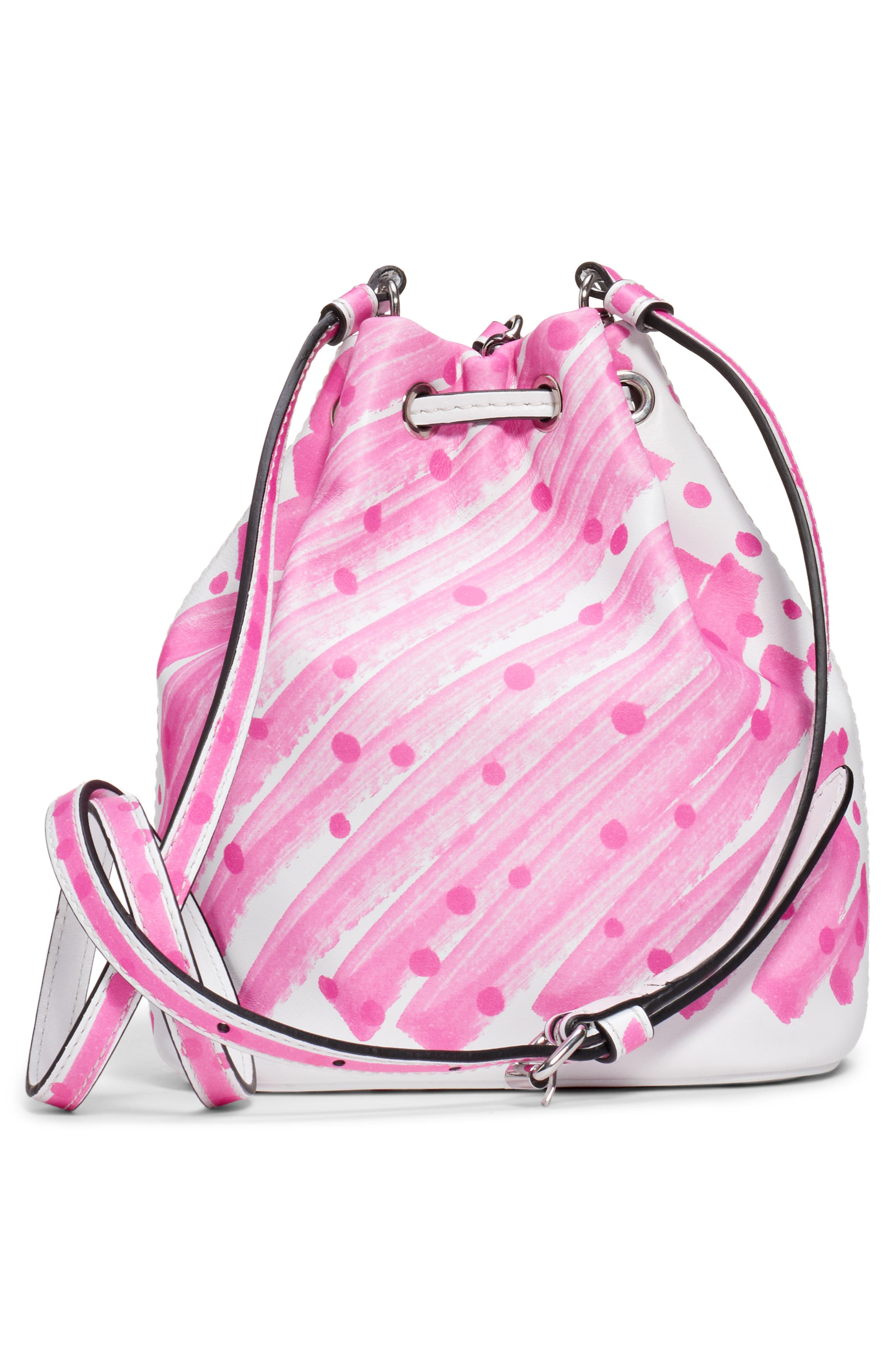 MOSCHINO, Scribble Dot Bucket Bag, Alternate thumbnail 3, color, FANTASY PRINT FUSCHIA