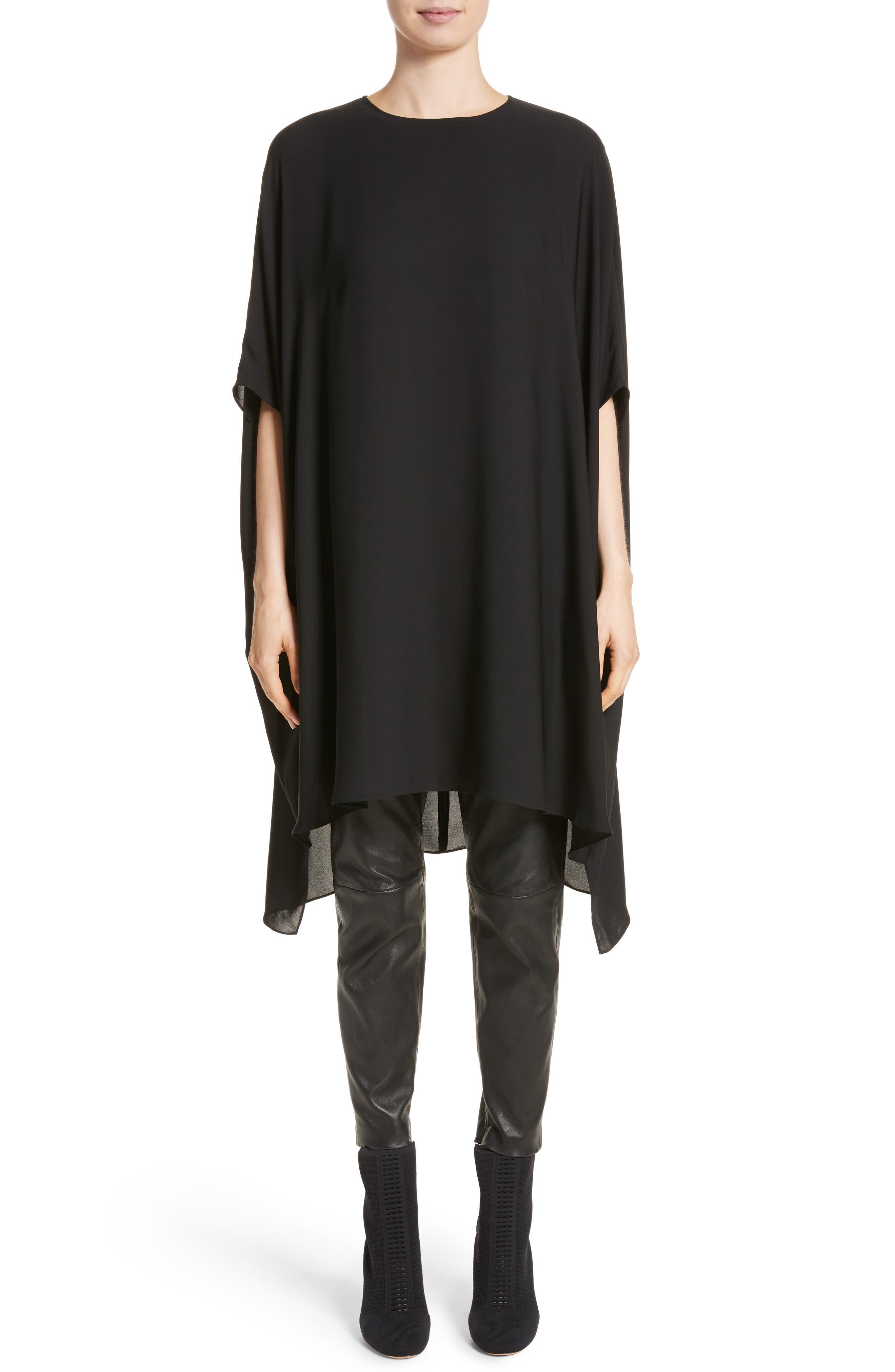 ST. JOHN COLLECTION, Double Silk Georgette Draped Dress, Alternate thumbnail 8, color, CAVIAR