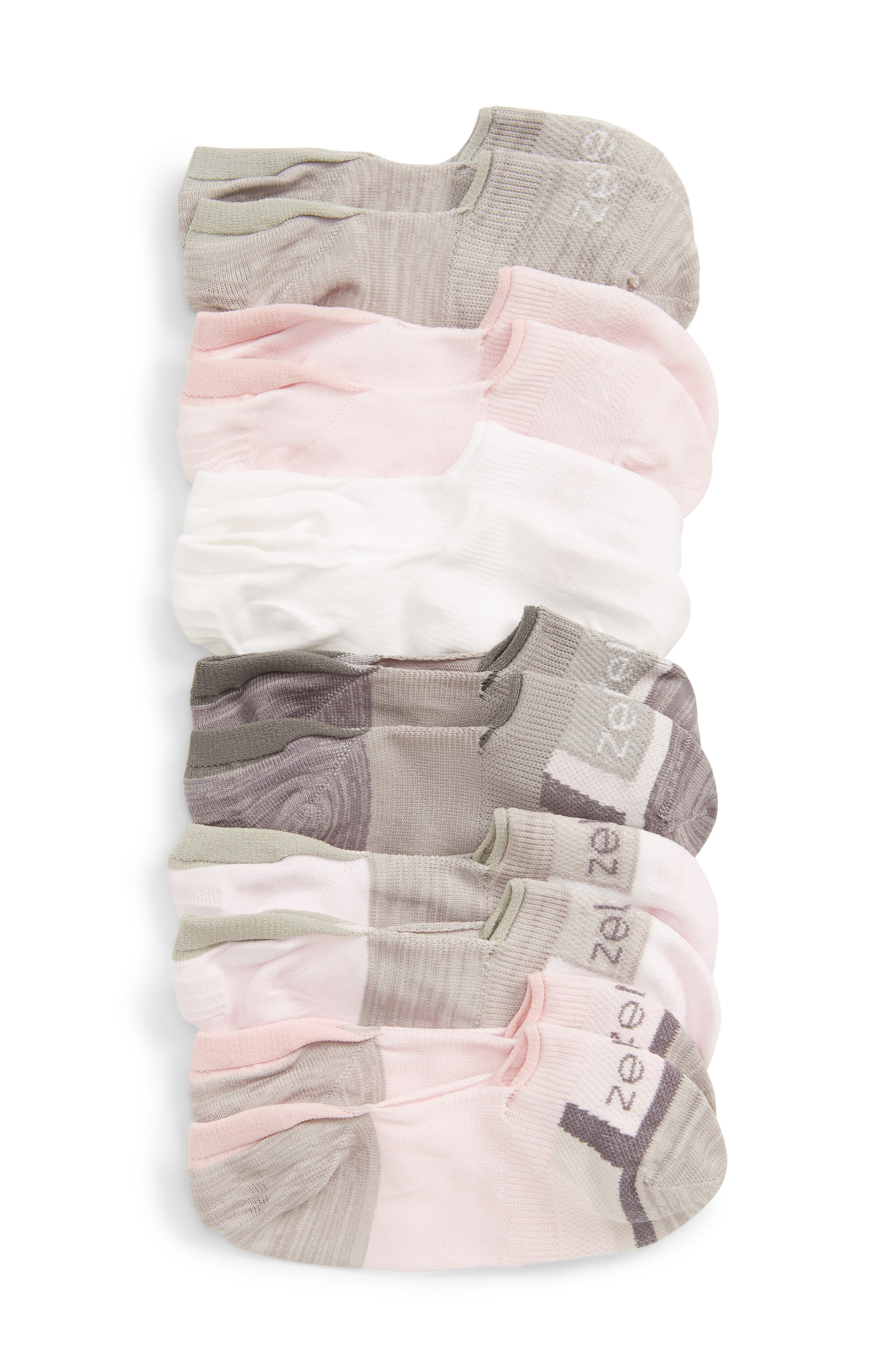 ZELLA GIRL 6-Pack No-Show Socks, Main, color, PINK CAKE MULTI