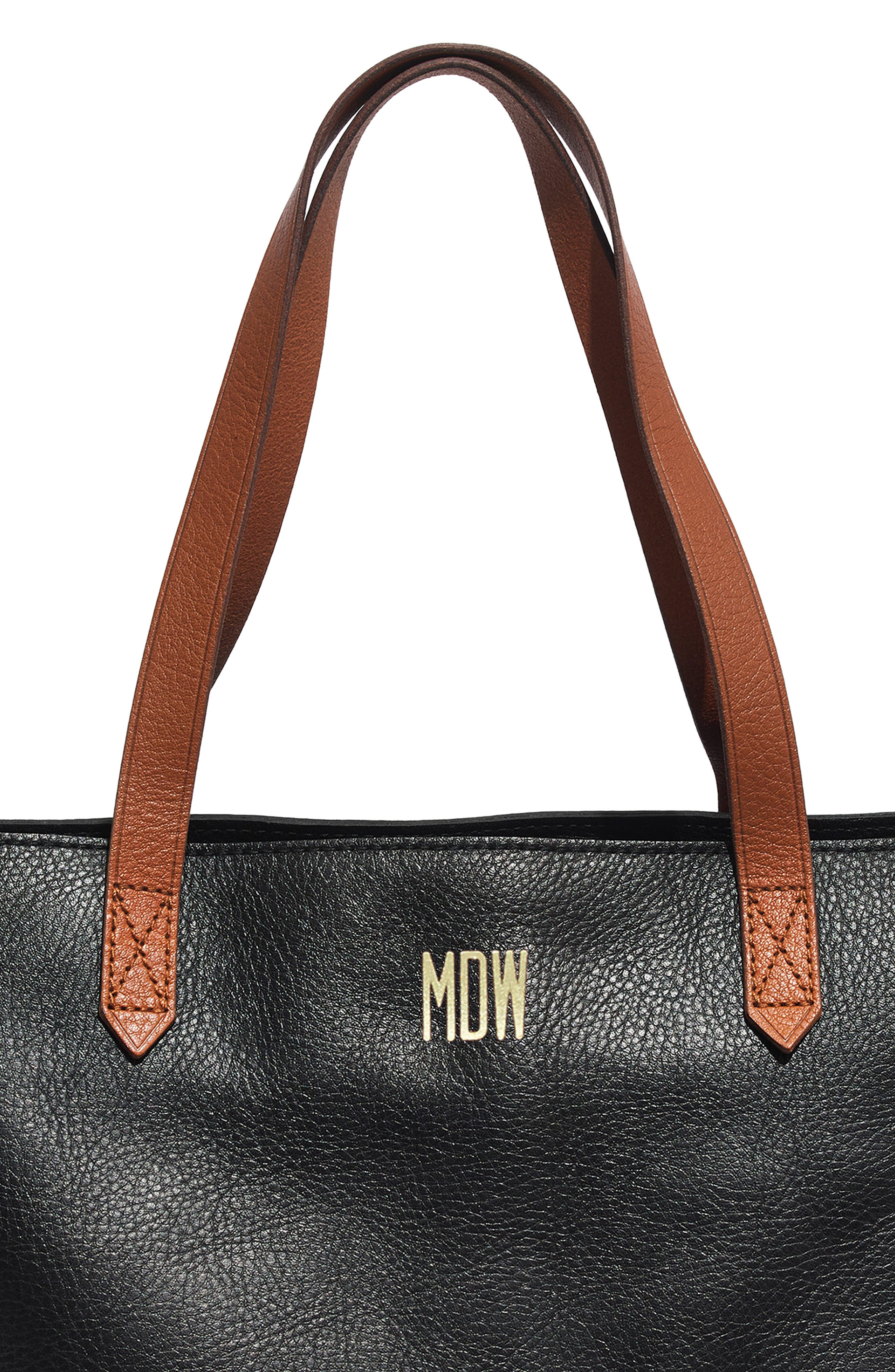 MADEWELL, Zip Top Transport Leather Tote, Alternate thumbnail 9, color, TRUE BLACK W/ BROWN
