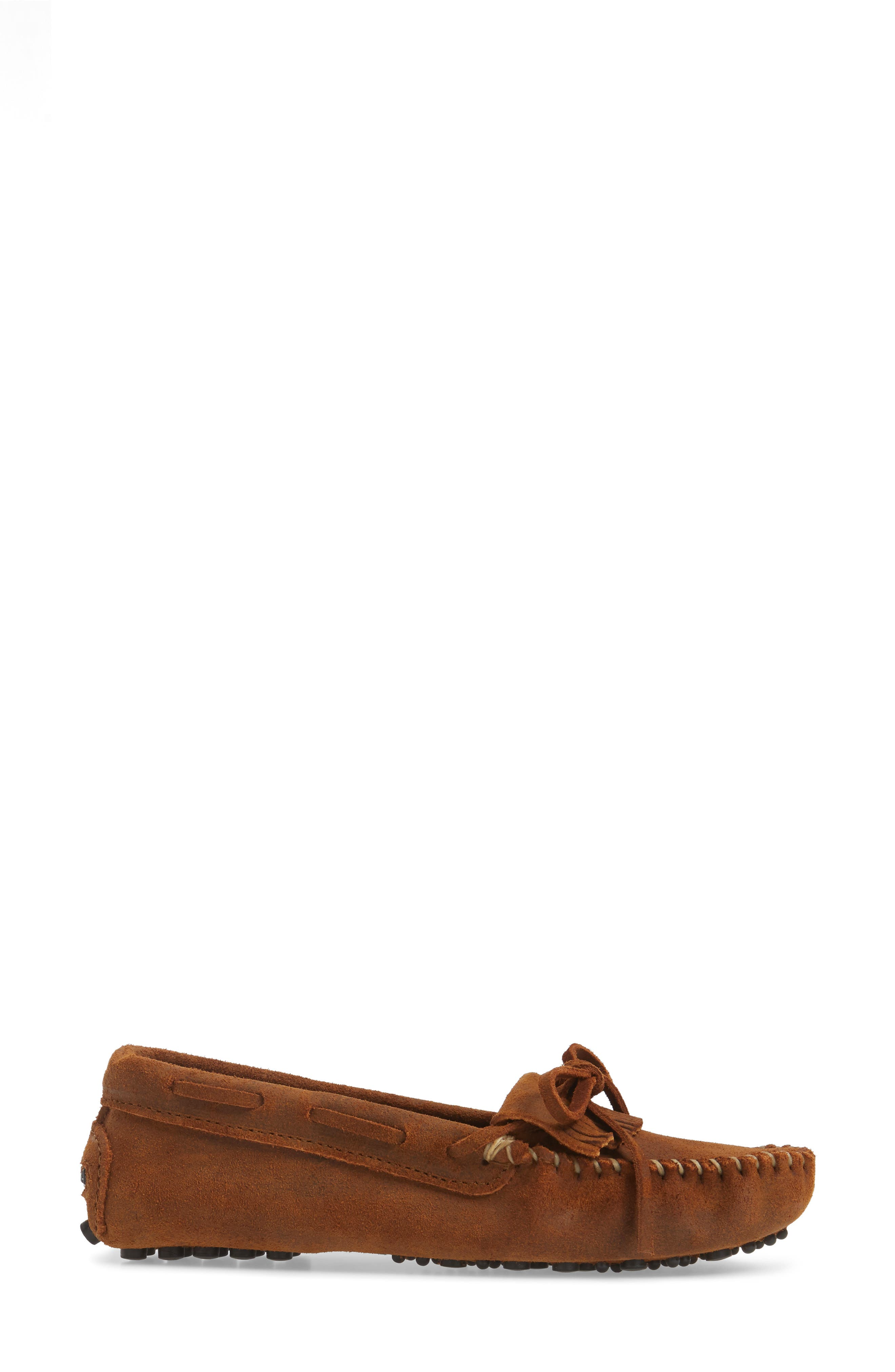 MINNETONKA, Kilty Driving Moccasin, Alternate thumbnail 3, color, BROWN RUFF