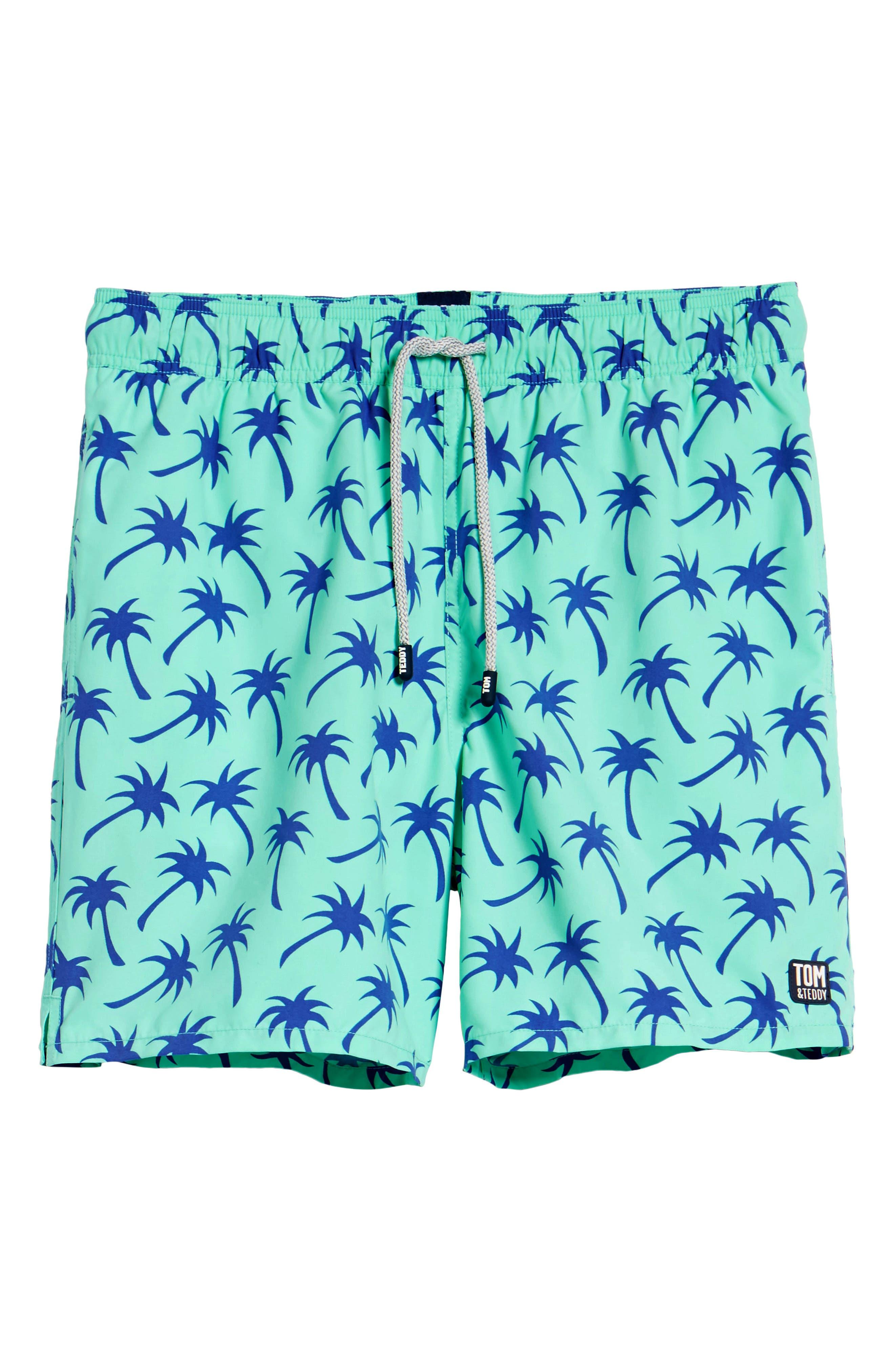 TOM & TEDDY, Palm Tree Print Swim Trunks, Alternate thumbnail 6, color, EMERALD/ BLUE