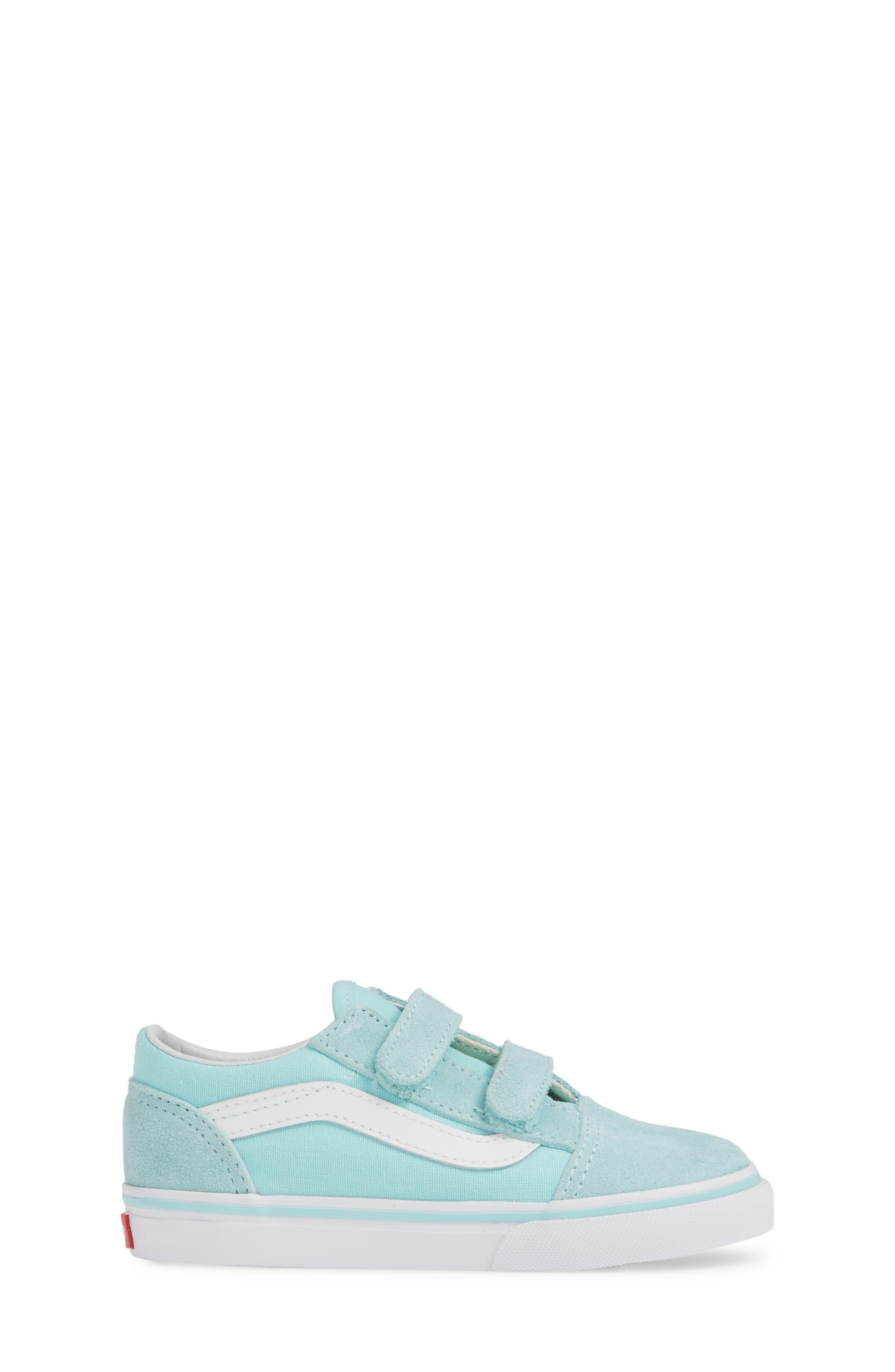 VANS, 'Old Skool V' Sneaker, Alternate thumbnail 3, color, BLUE TINT/ TRUE WHITE