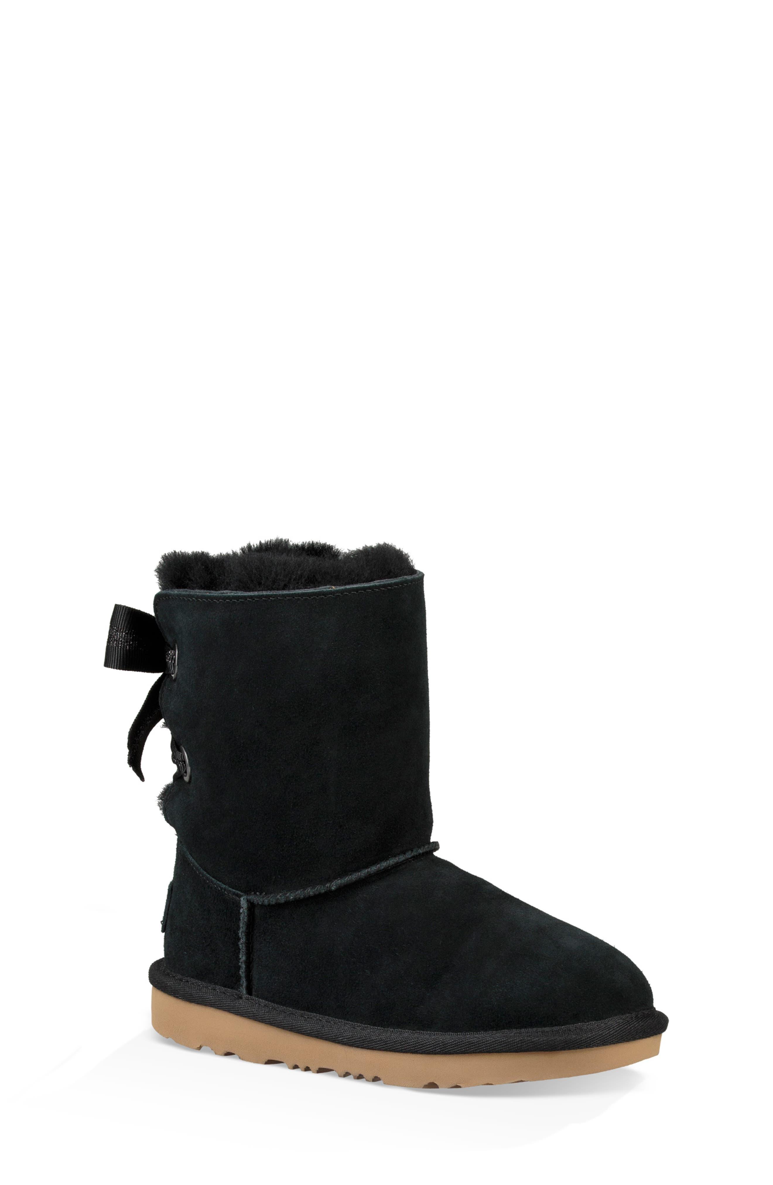 UGG<SUP>®</SUP>, Customizable Bailey Bow II Genuine Shearling Boot, Main thumbnail 1, color, BLACK