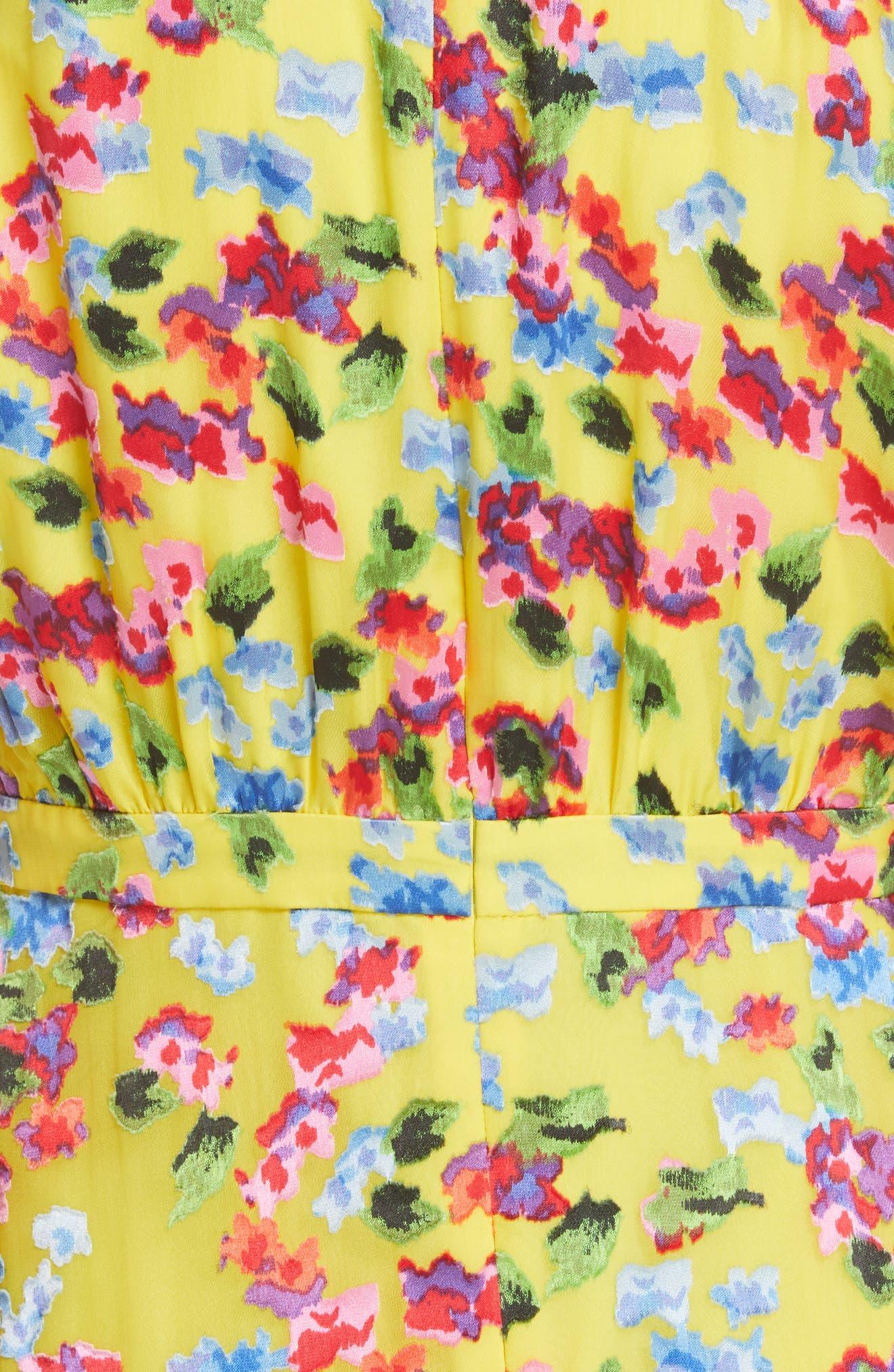 SALONI, Rita Floral Print Shark Bite Hem Midi Dress, Alternate thumbnail 5, color, YELLOW GARDENIA