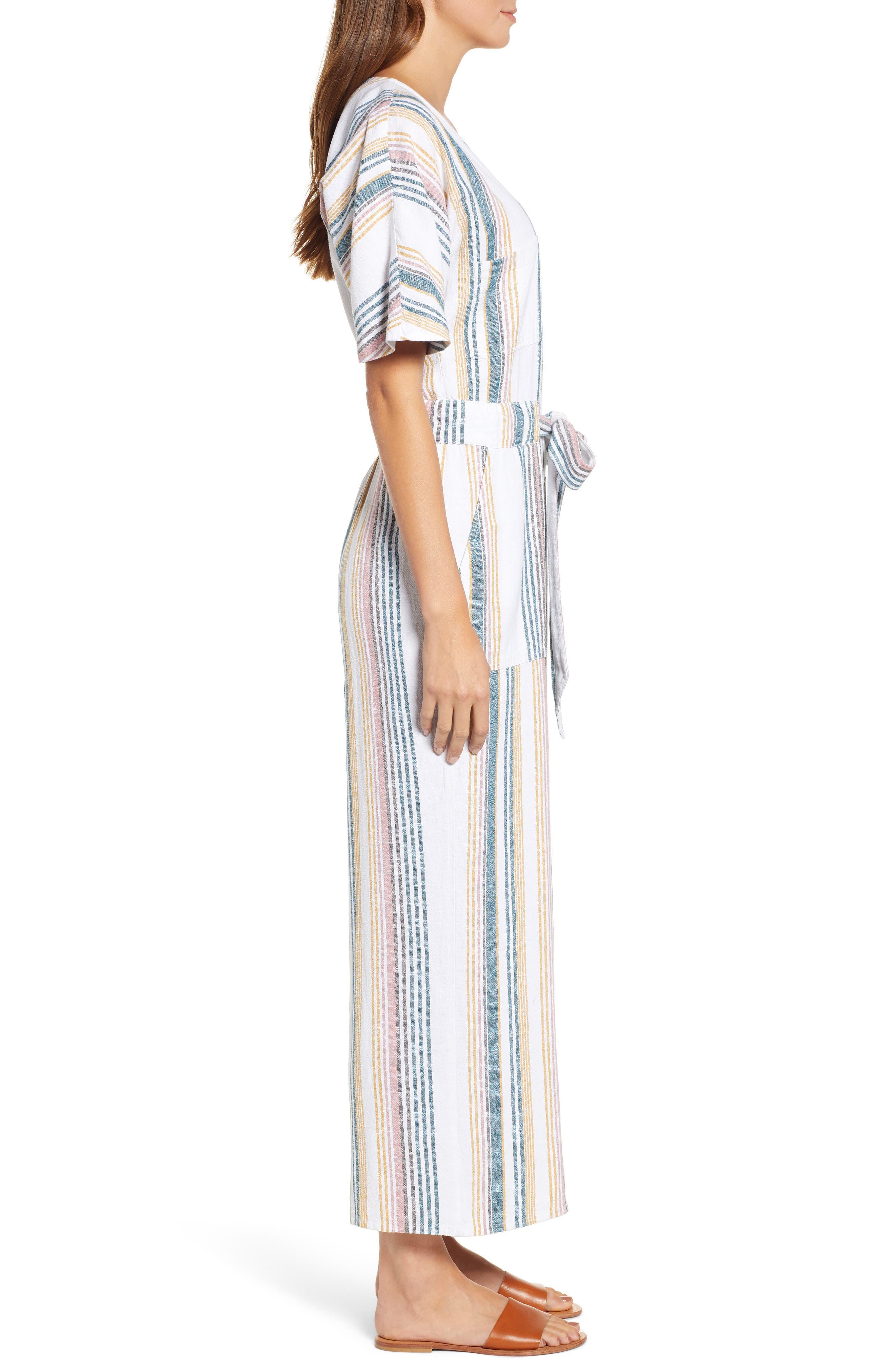 CASLON<SUP>®</SUP>, Stripe Jumpsuit, Alternate thumbnail 4, color, IVORY MULTI STRIPE