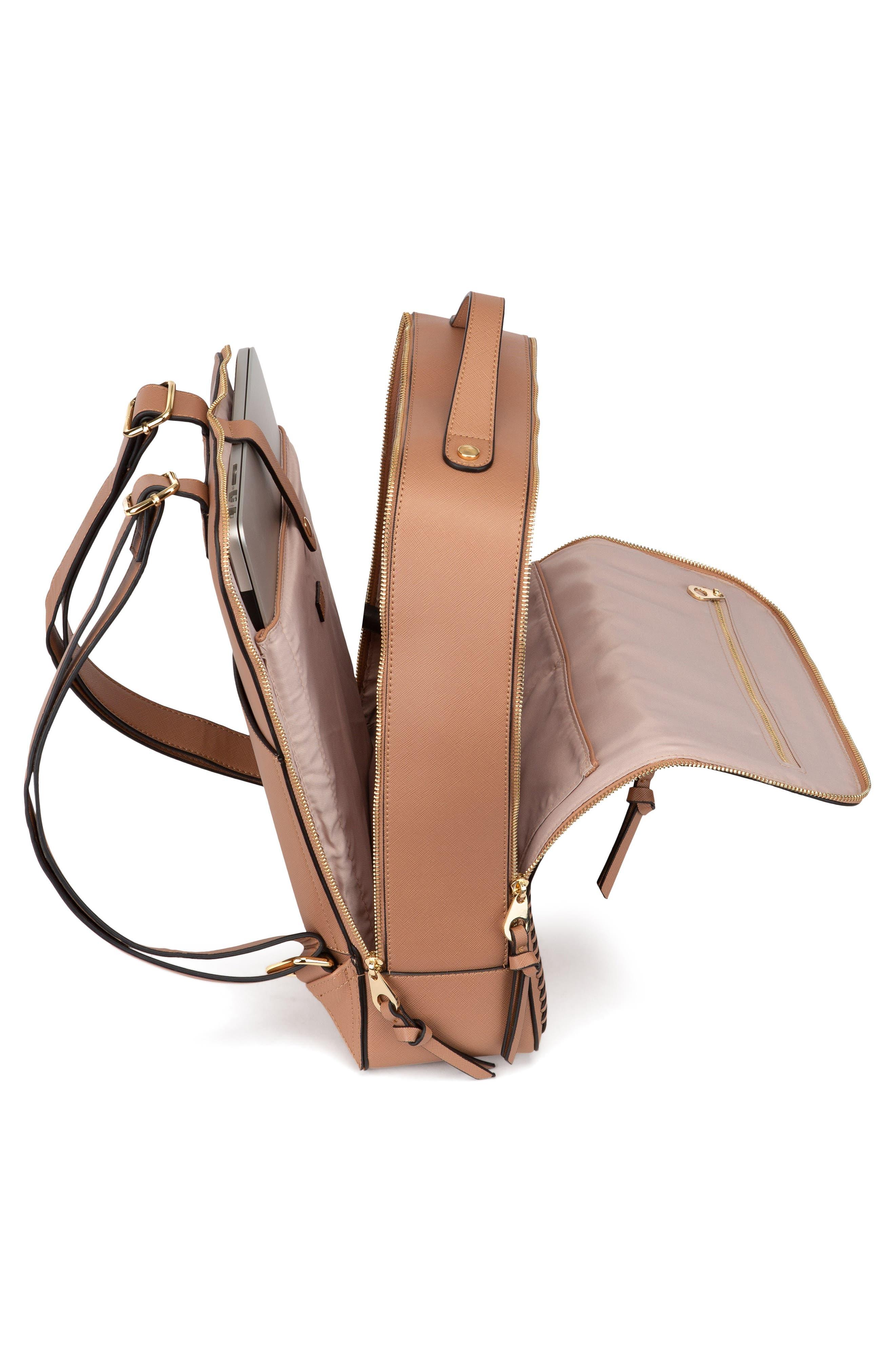 CALPAK, Kaya Faux Leather Laptop Backpack, Alternate thumbnail 4, color, CARAMEL