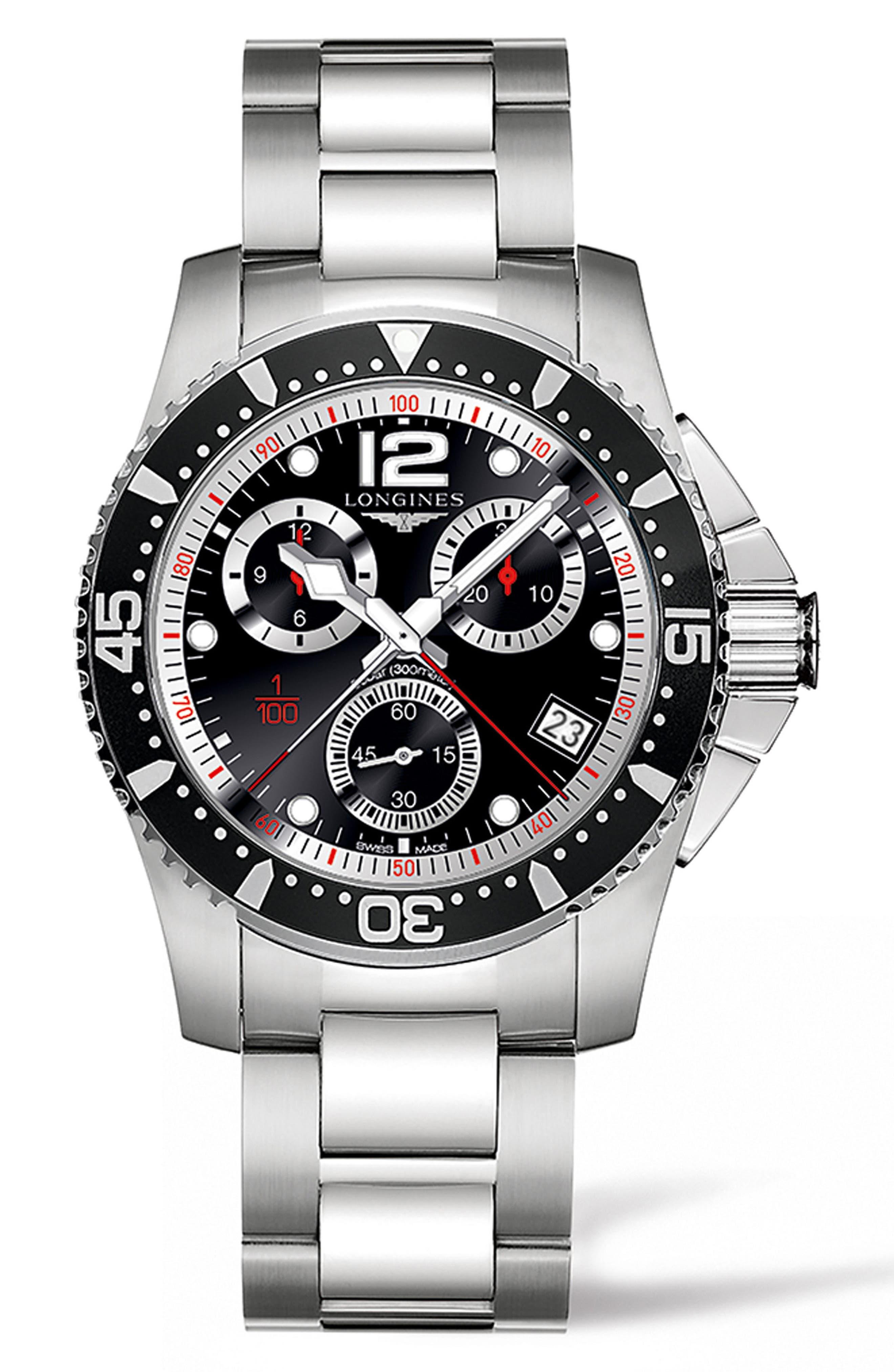 LONGINES, HydroConquest Chronograph Bracelet Watch, 41mm, Main thumbnail 1, color, SILVER/ BLACK/ SILVER