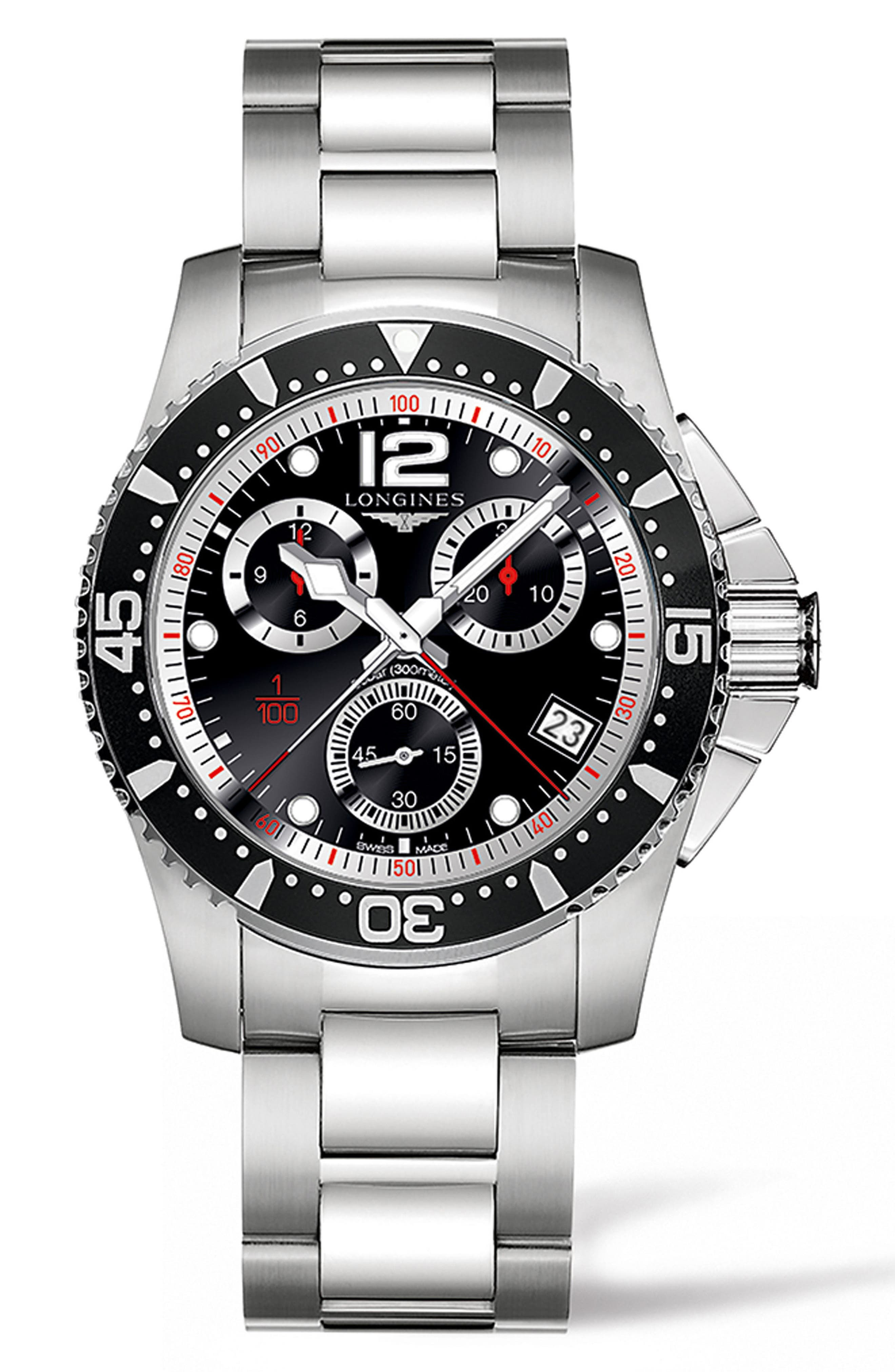 LONGINES HydroConquest Chronograph Bracelet Watch, 41mm, Main, color, SILVER/ BLACK/ SILVER