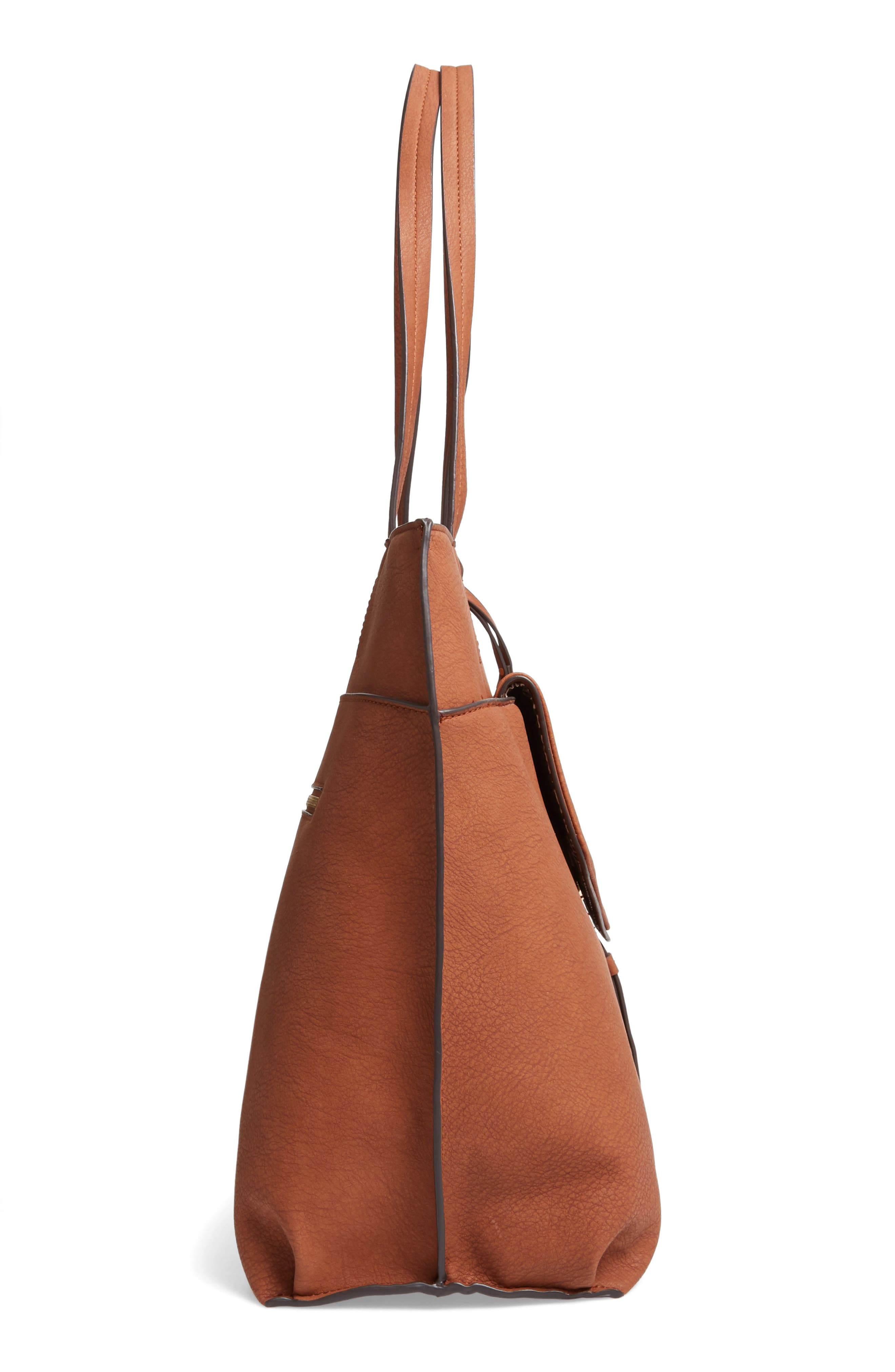 SOLE SOCIETY, Lyndi Faux Leather Tote, Alternate thumbnail 6, color, COGNAC