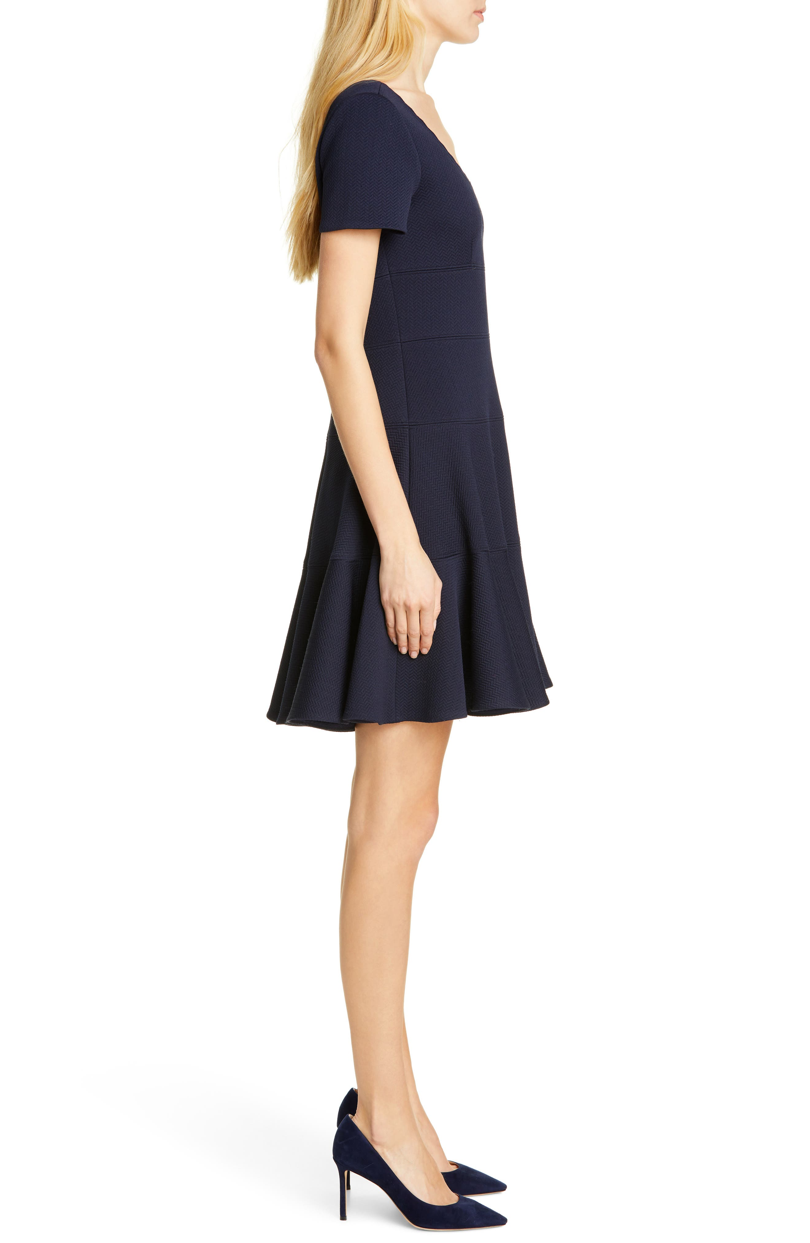 REBECCA TAYLOR, Textured Scallop Detail Fit & Flare Dress, Alternate thumbnail 4, color, NAVY