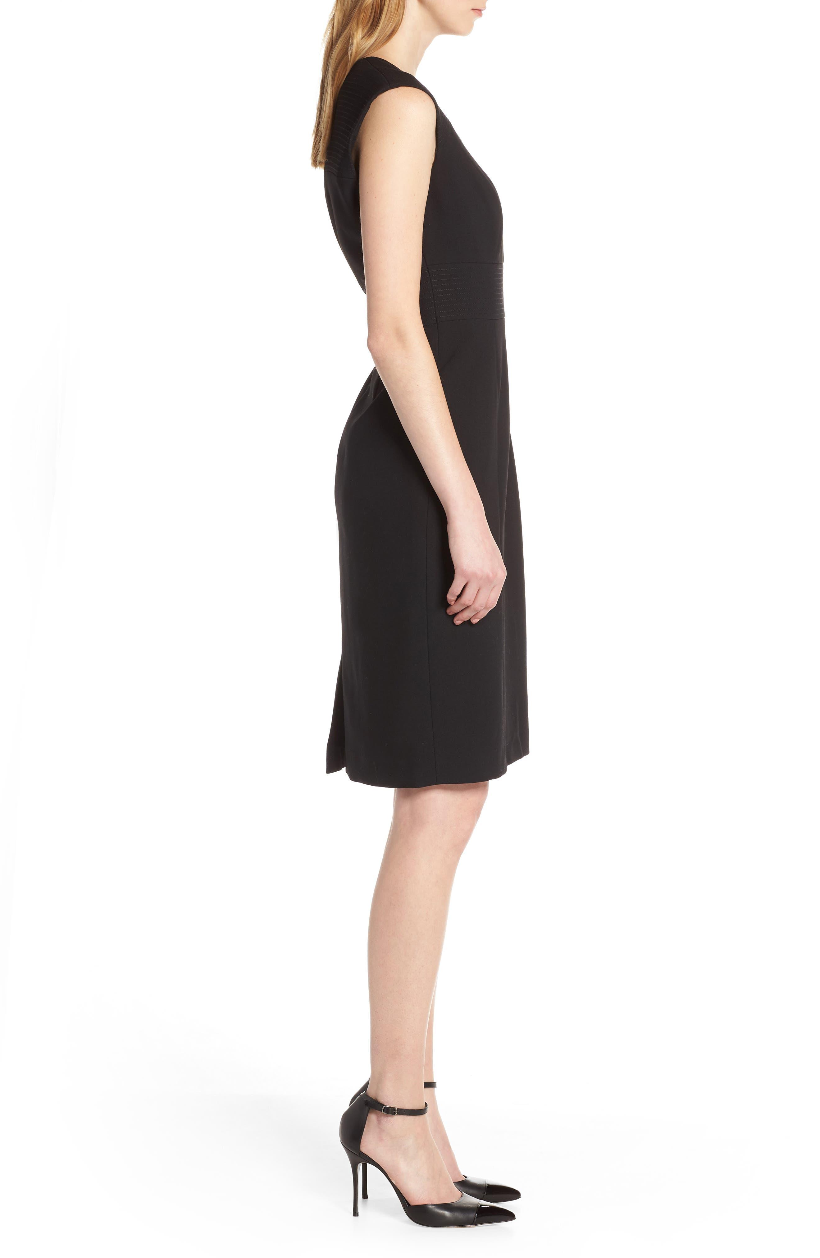 TAHARI, Star Neckline Crepe Sheath Dress, Alternate thumbnail 4, color, BLACK