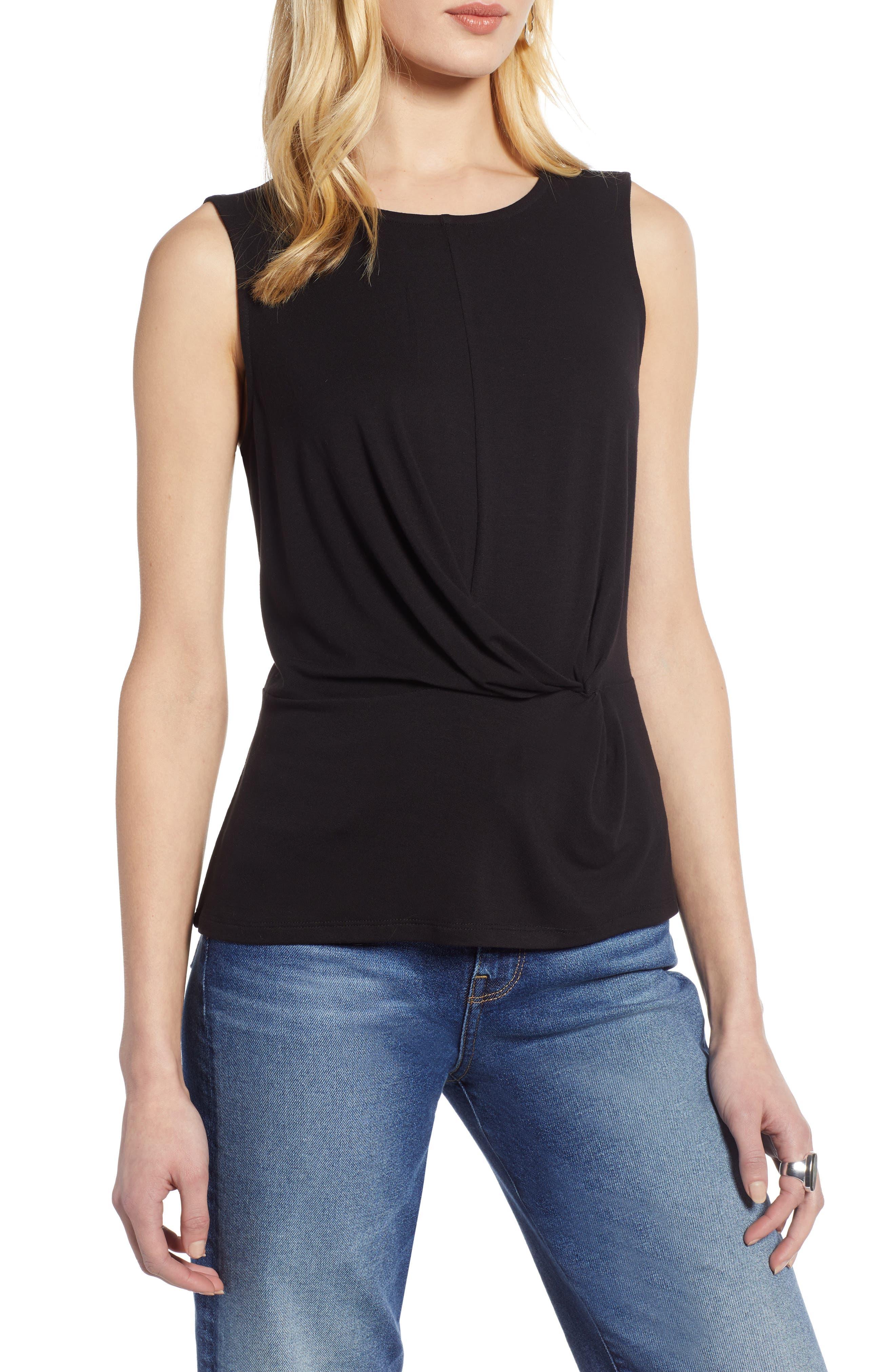 HALOGEN<SUP>®</SUP> Waist Detail Sleeveless Top, Main, color, BLACK
