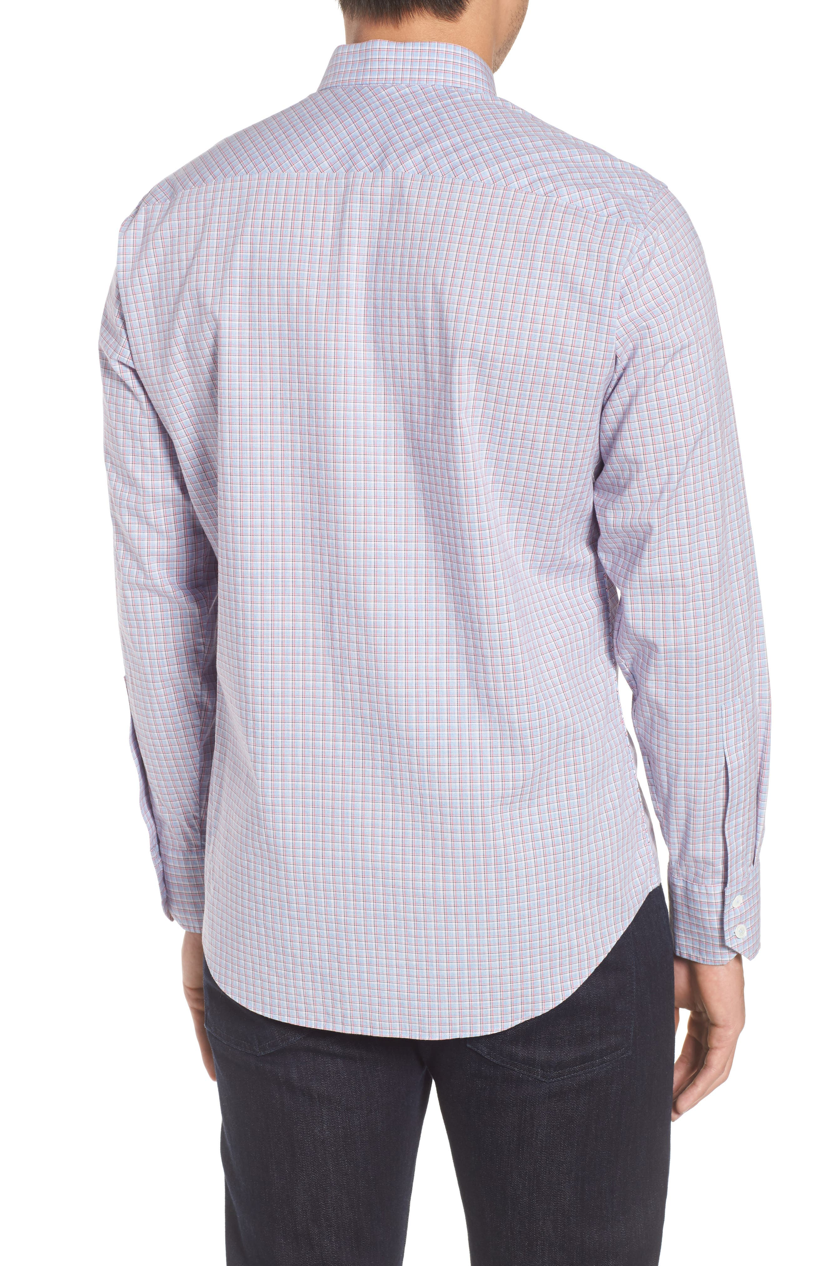 ZACHARY PRELL, Drozdov Regular Fit Plaid Sport Shirt, Alternate thumbnail 2, color, PINK