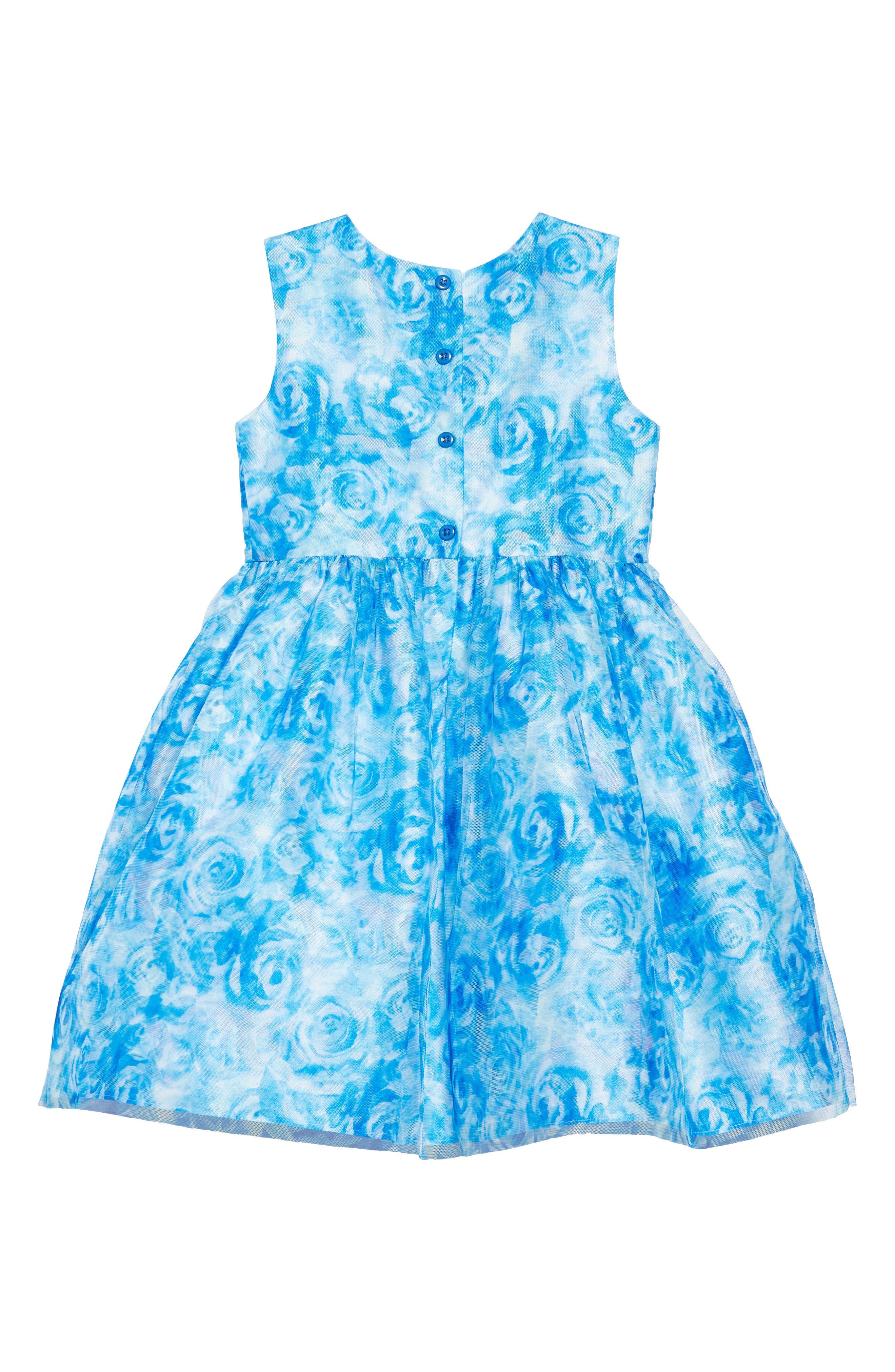 FRAIS, Rose Mesh Overlay Dress, Alternate thumbnail 2, color, BLUE