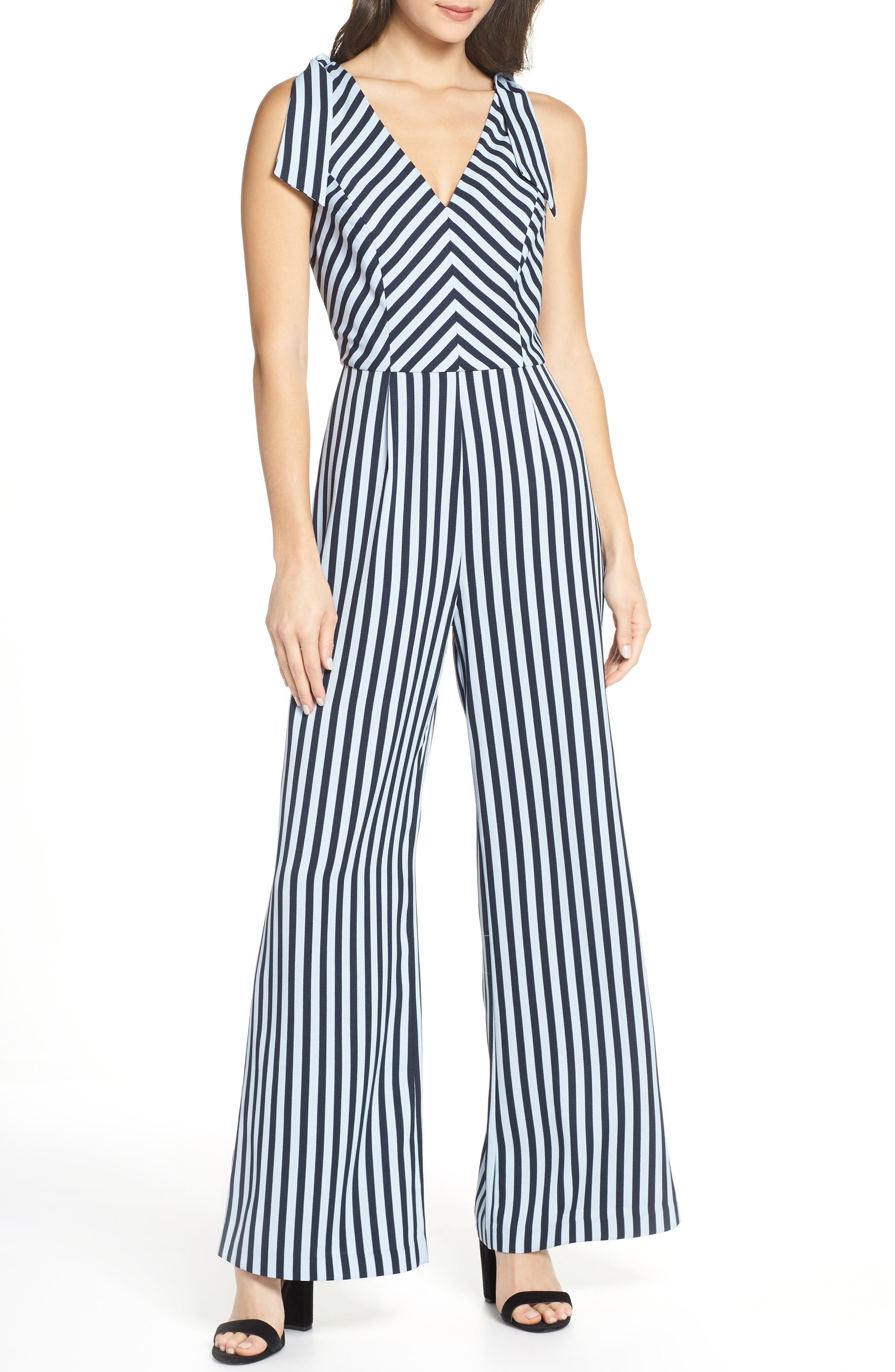 CHARLES HENRY Stripe Tie Shoulder Jumpsuit, Main, color, 400