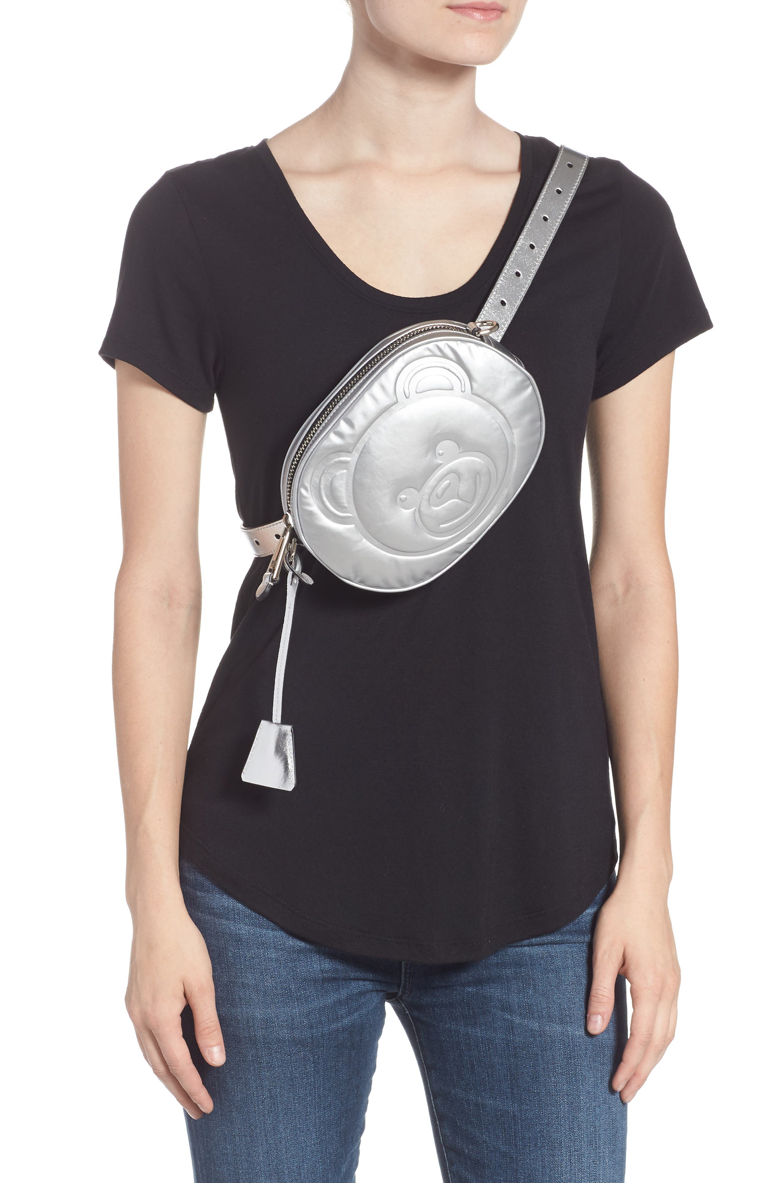 MOSCHINO, Silver Teddy Belt Bag, Alternate thumbnail 3, color, SILVER