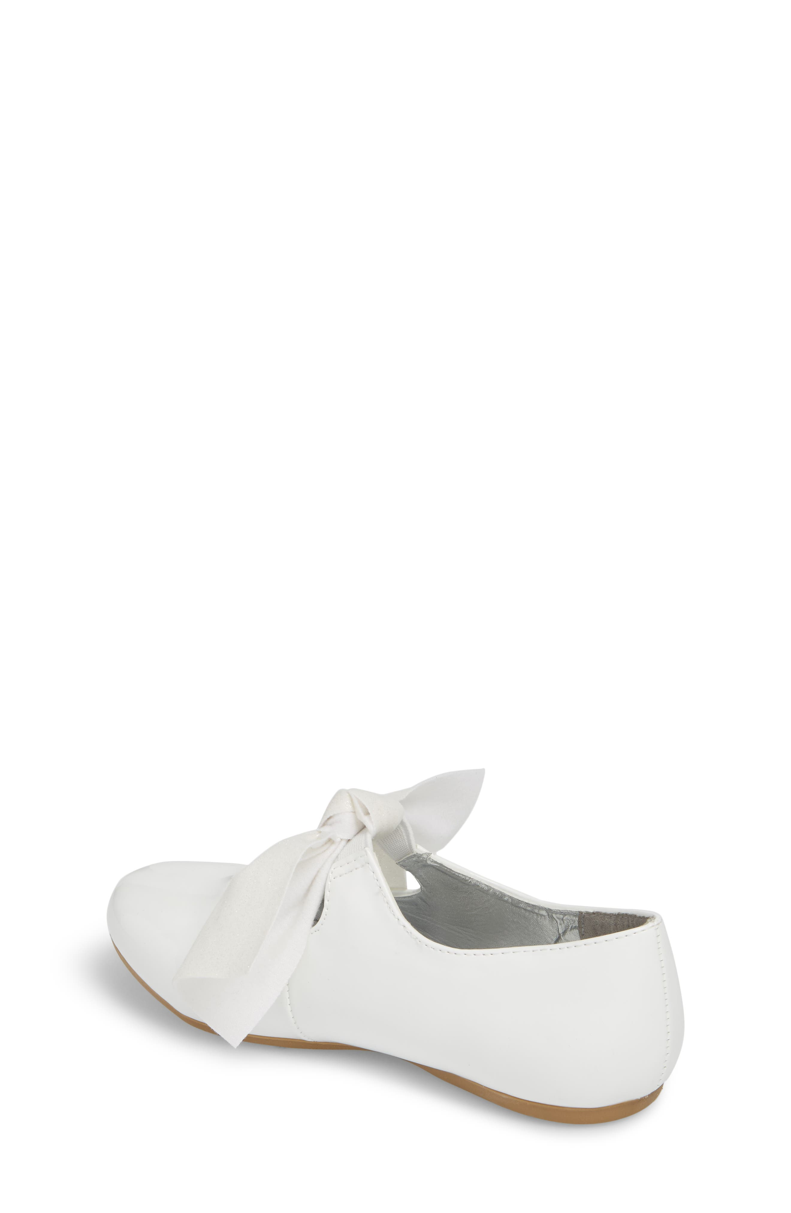 KENNETH COLE NEW YORK, Reaction Kenneth Cole Rose Bow Mary Jane Flat, Alternate thumbnail 2, color, WHITE PATENT
