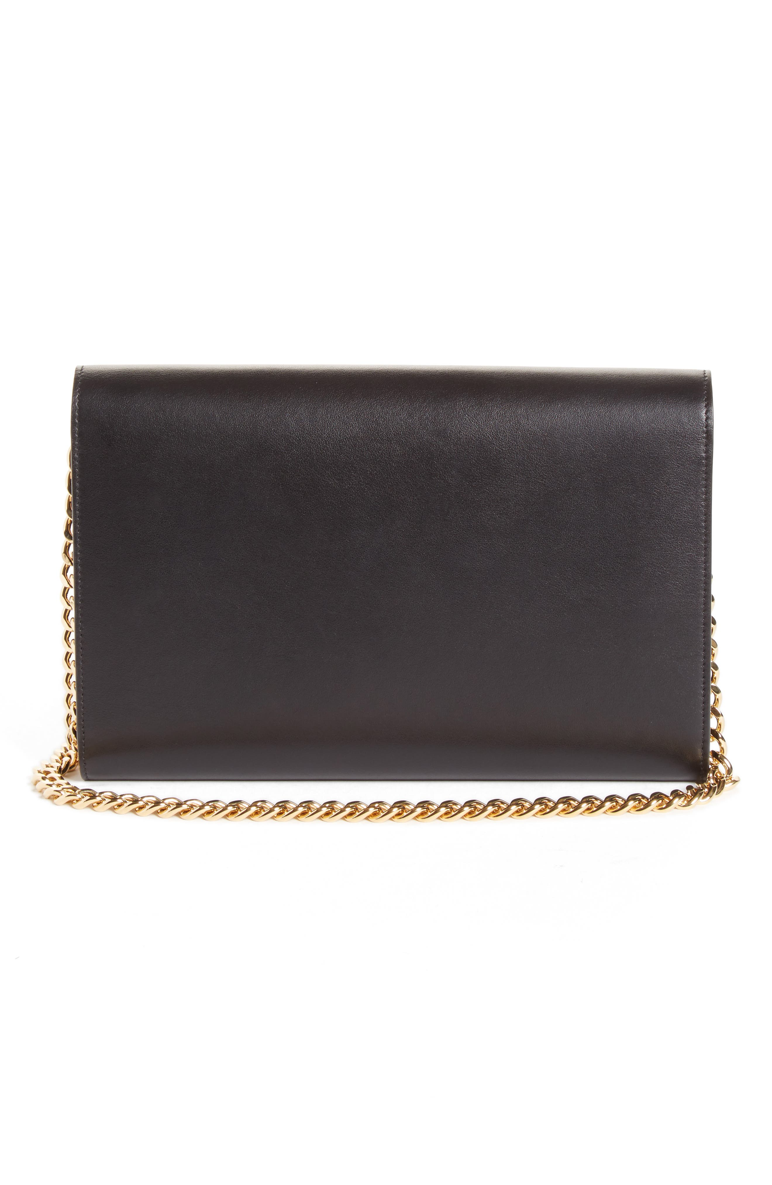 VICTORIA BECKHAM, Leather Wallet on a Chain, Alternate thumbnail 2, color, BLACK