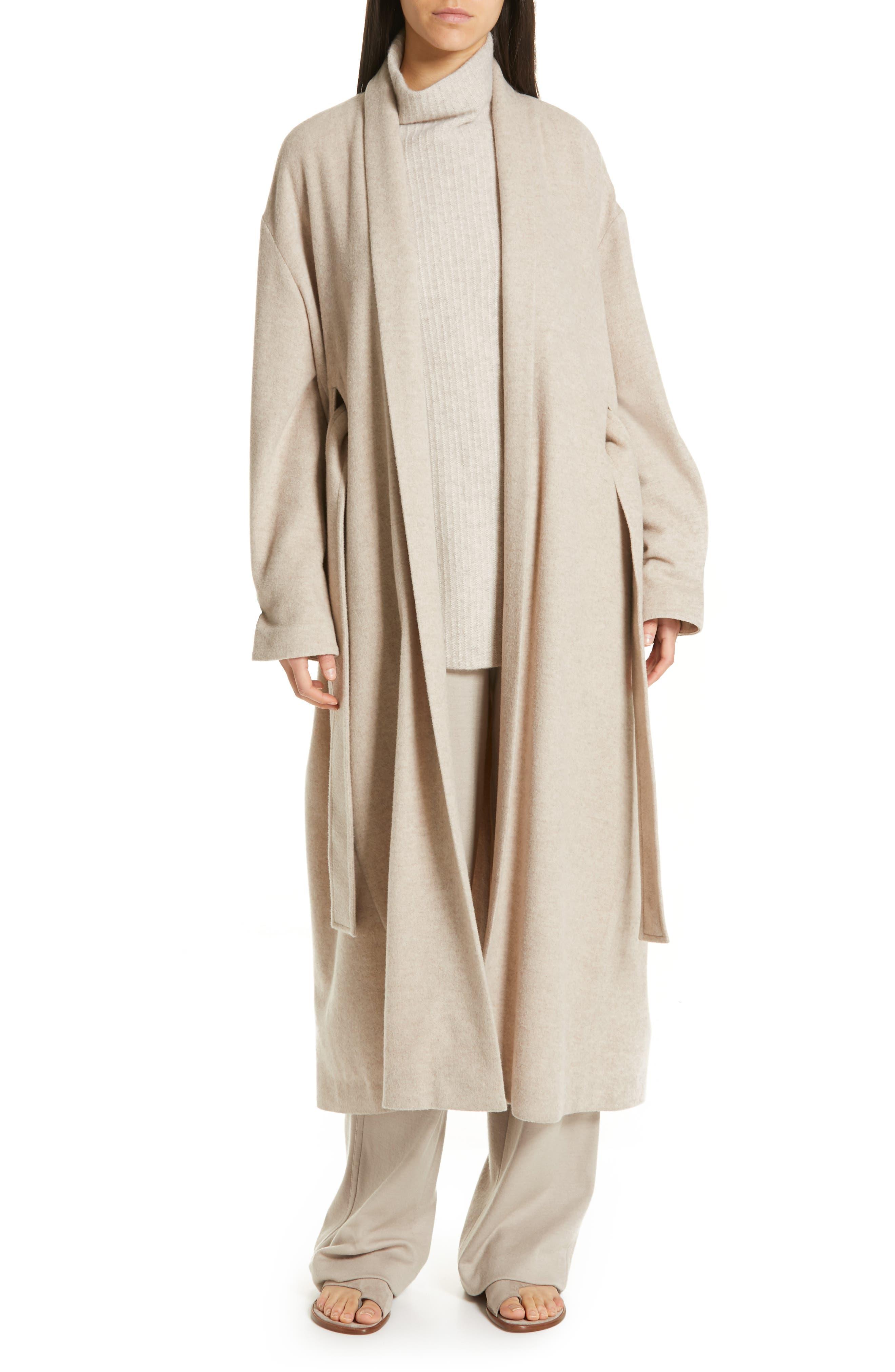 VINCE Wool Blend Wrap Coat, Main, color, H SHALE