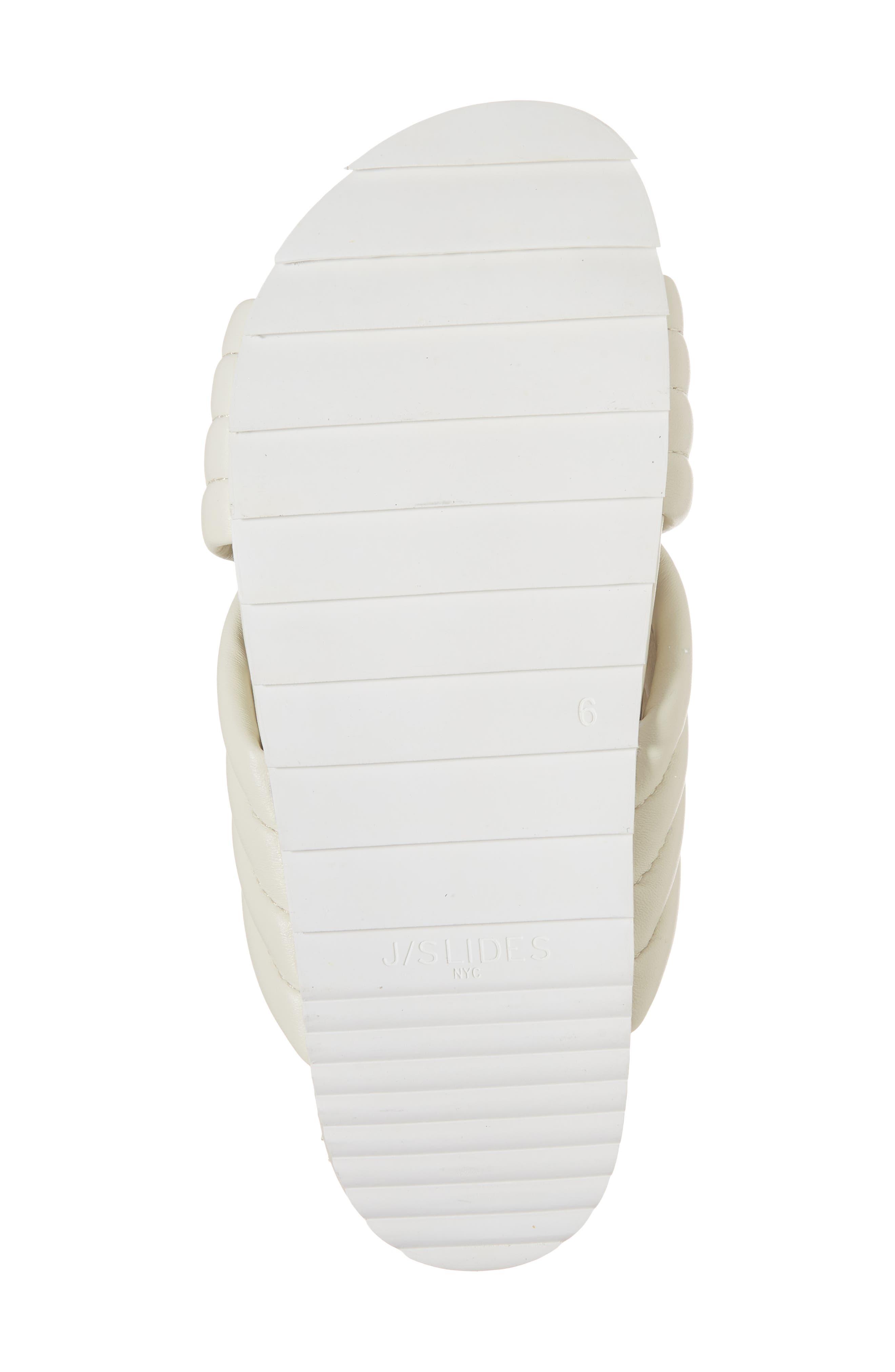JSLIDES, Easy Slide Sandal, Alternate thumbnail 6, color, OFF WHITE LEATHER