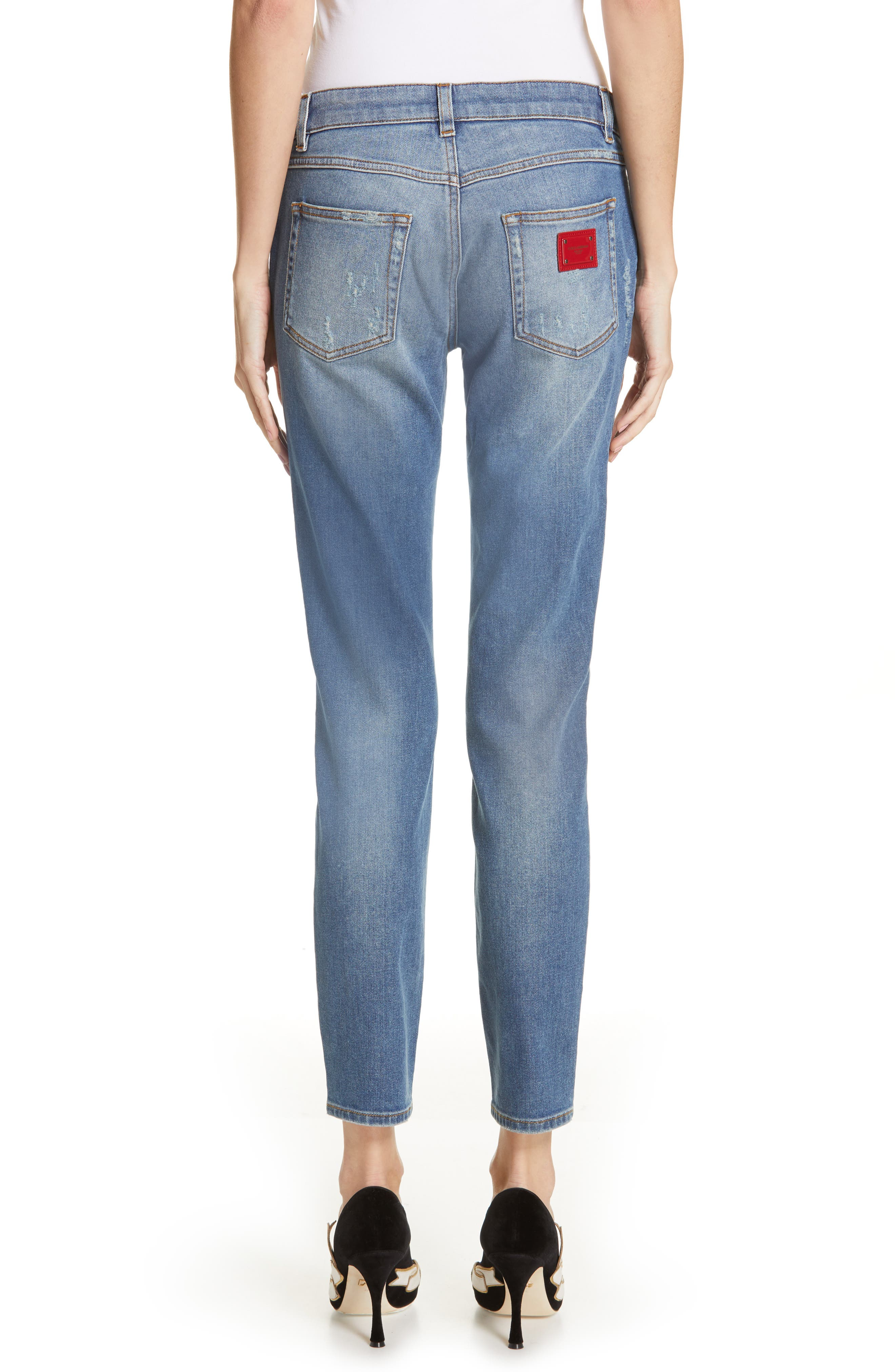 DOLCE&GABBANA, Logo Plaque Skinny Jeans, Alternate thumbnail 2, color, MED BLUE