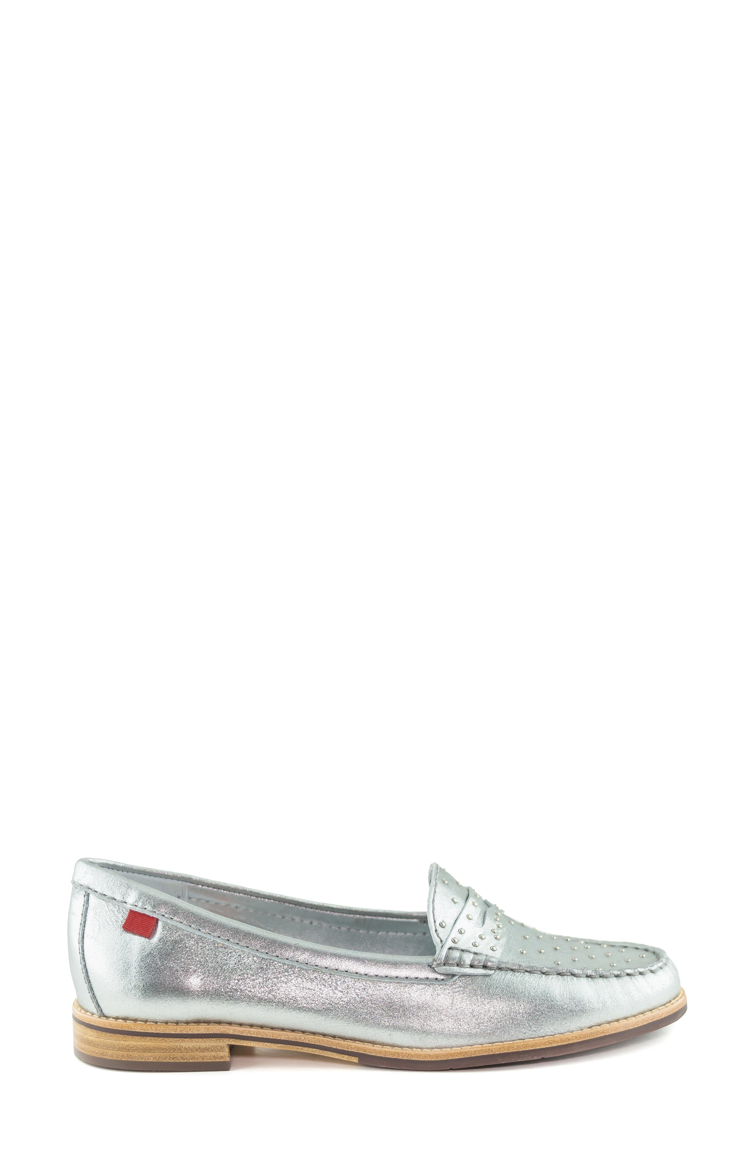 MARC JOSEPH NEW YORK, East Village III Studded Loafer, Alternate thumbnail 3, color, SILVER LEATHER