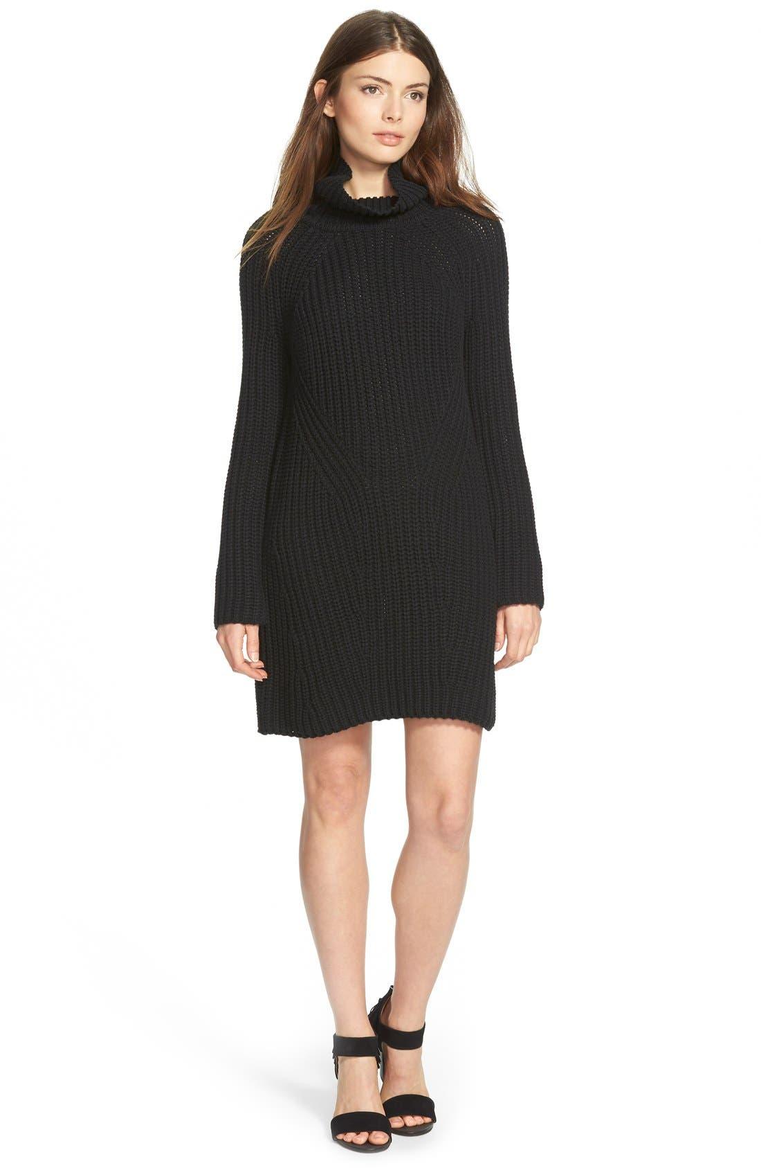 TREASURE & BOND Treasure&Bond Turtleneck Sweater Dress, Main, color, 001
