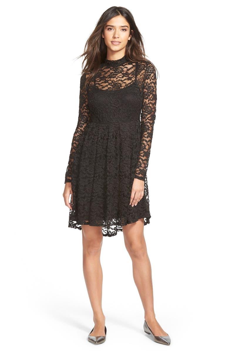 e11e44e6bb6b PAINTED THREADS High Neck Lace Skater Dress, Main, color, 002