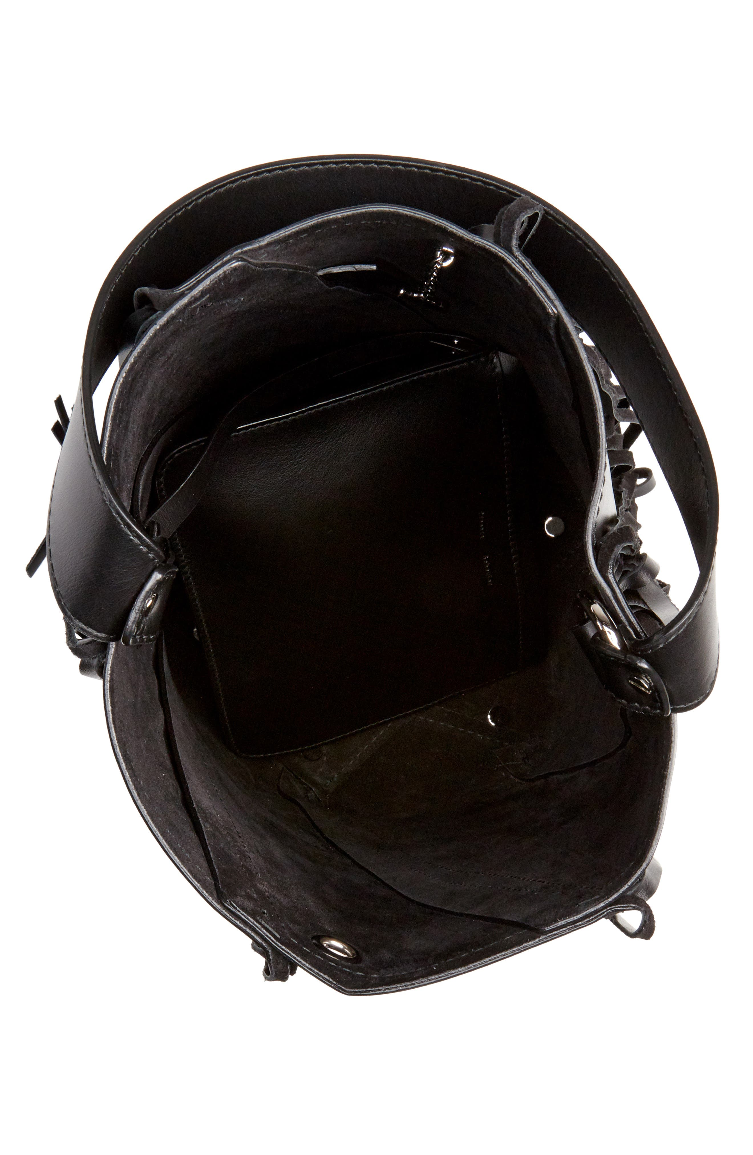PROENZA SCHOULER, Medium Hex Fringe Calfskin Leather Bucket Bag, Alternate thumbnail 4, color, BLACK/ BLACK