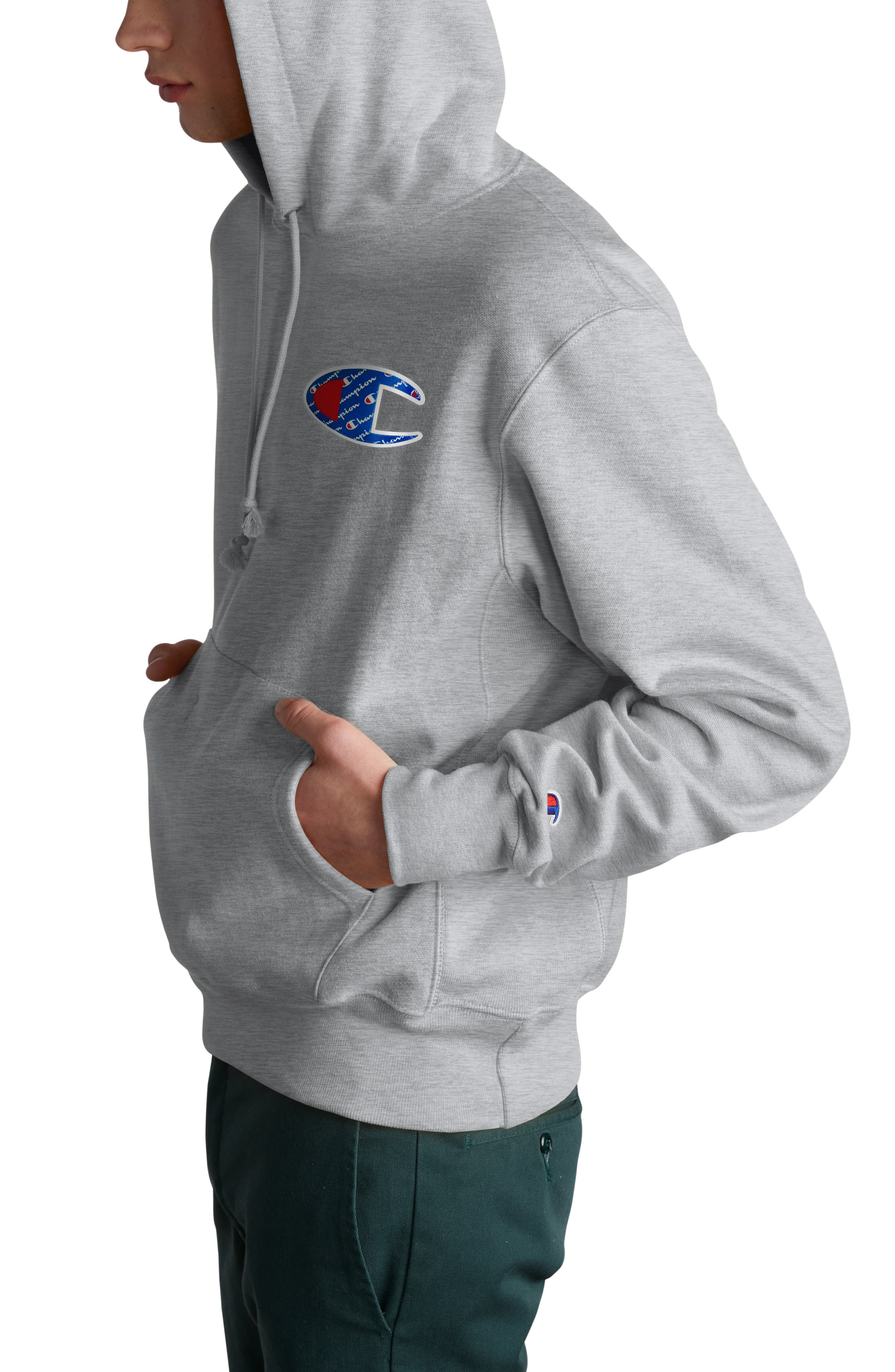 CHAMPION, Sublimated Graphic Hoodie, Alternate thumbnail 3, color, OXFORD GRAY