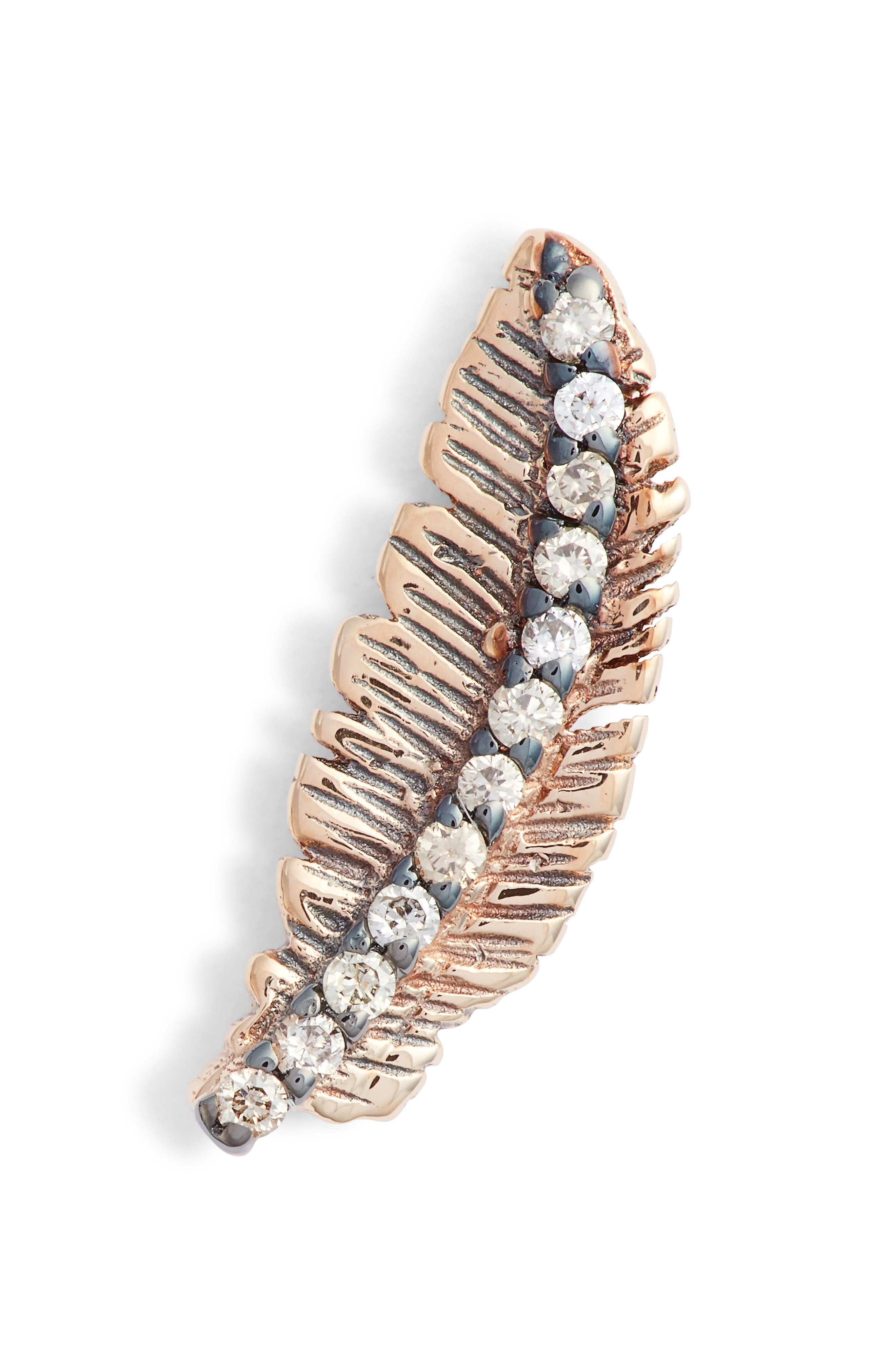 KISMET BY MILKA, Feather Champagne Diamond Earring, Main thumbnail 1, color, ROSE GOLD/ DIAMOND