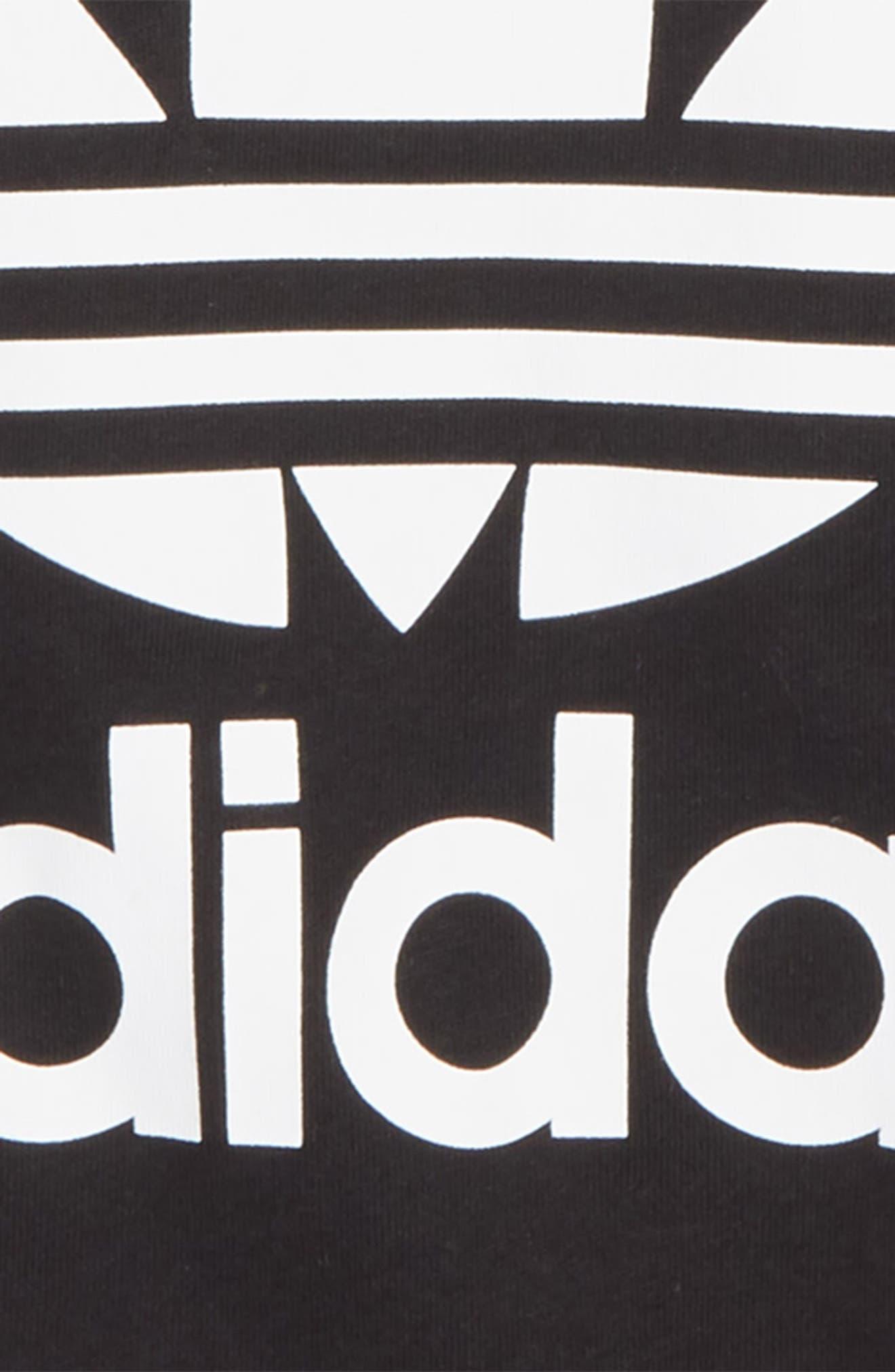 ADIDAS ORIGINALS, Trefoil Logo Tee, Alternate thumbnail 2, color, BLACK/ WHITE