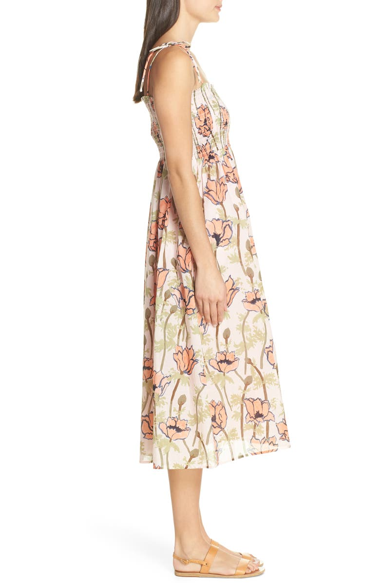7bedb411f8c Tory Burch Painted Iris Floral-Print Sleeveless Midi Coverup Sun Dress In  Pink Poppies Bloom