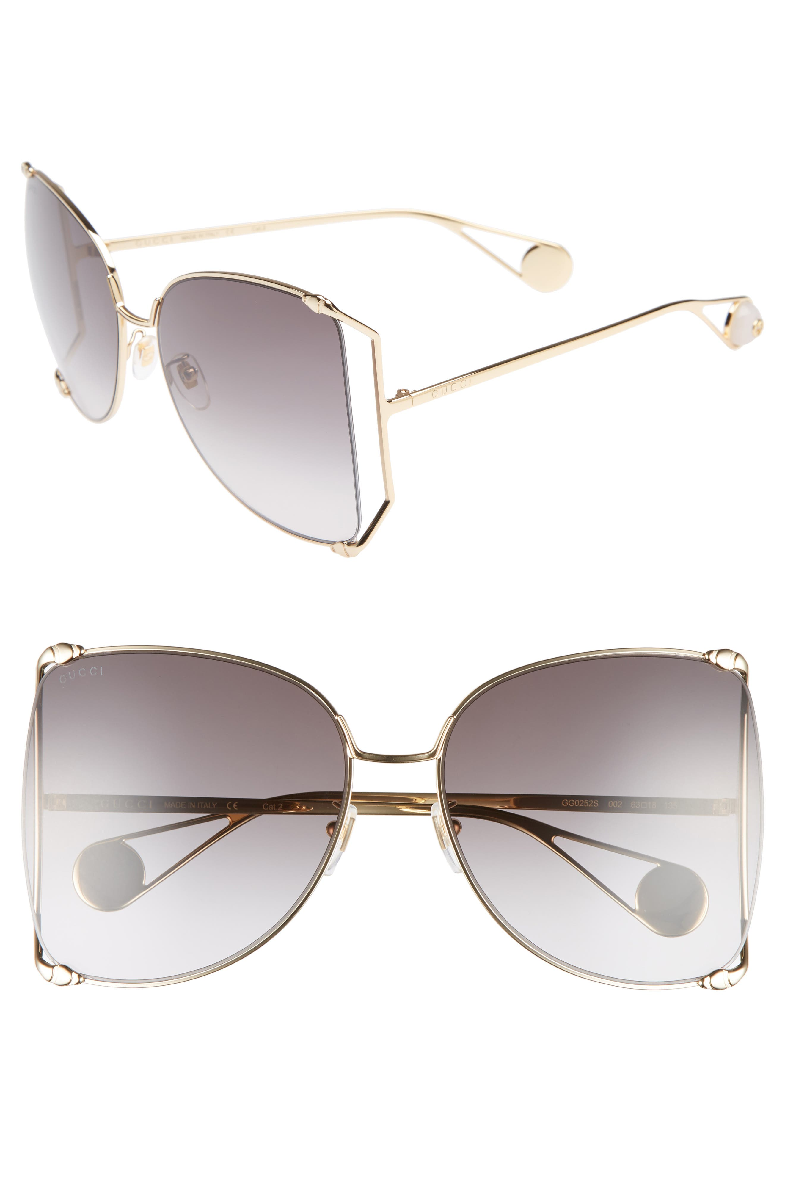 GUCCI, 63mm Gradient Oversize Butterfly Sunglasses, Main thumbnail 1, color, GOLD/ GRADIENT GREY
