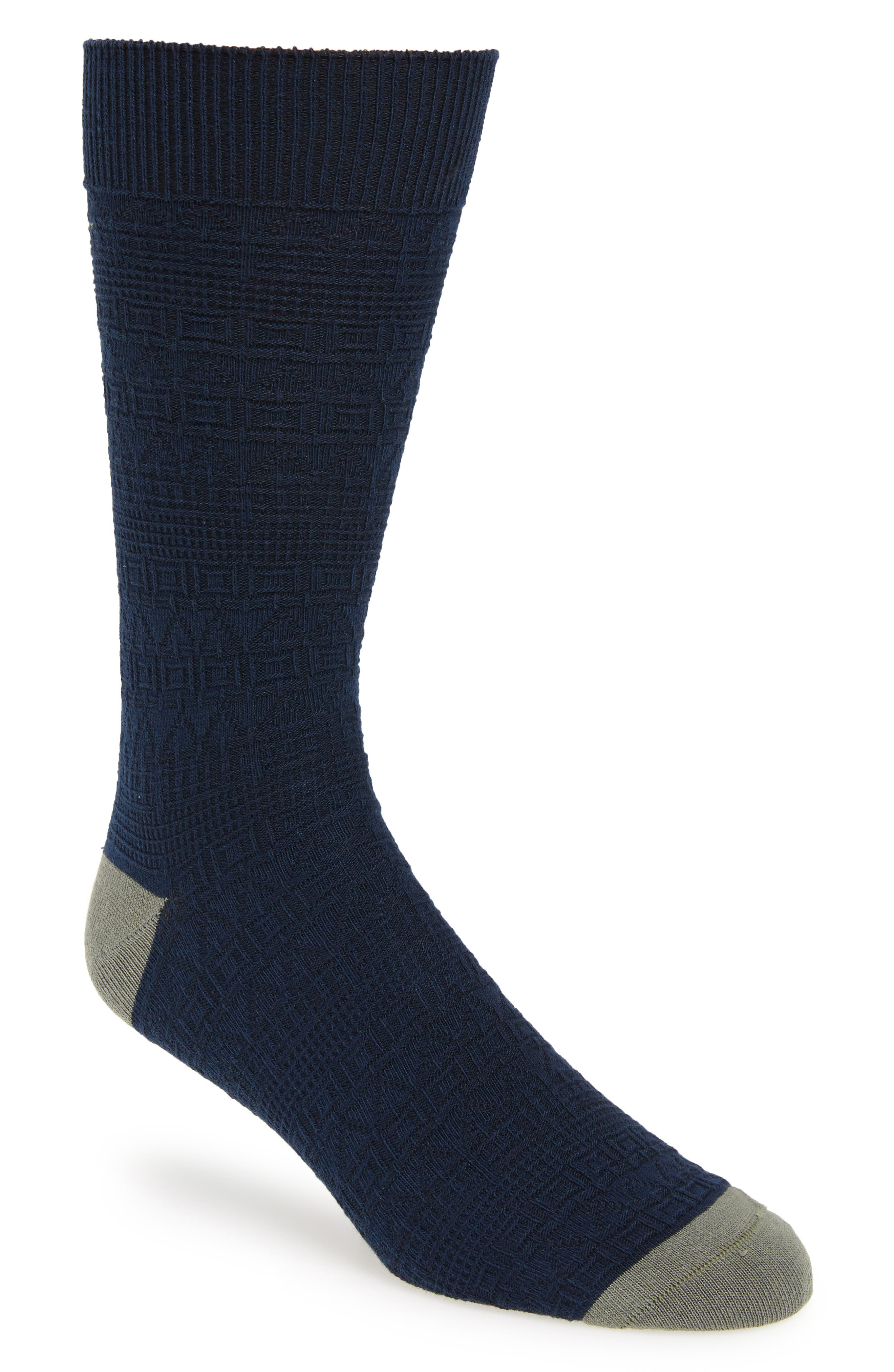 TED BAKER LONDON Textured Socks, Main, color, NAVY