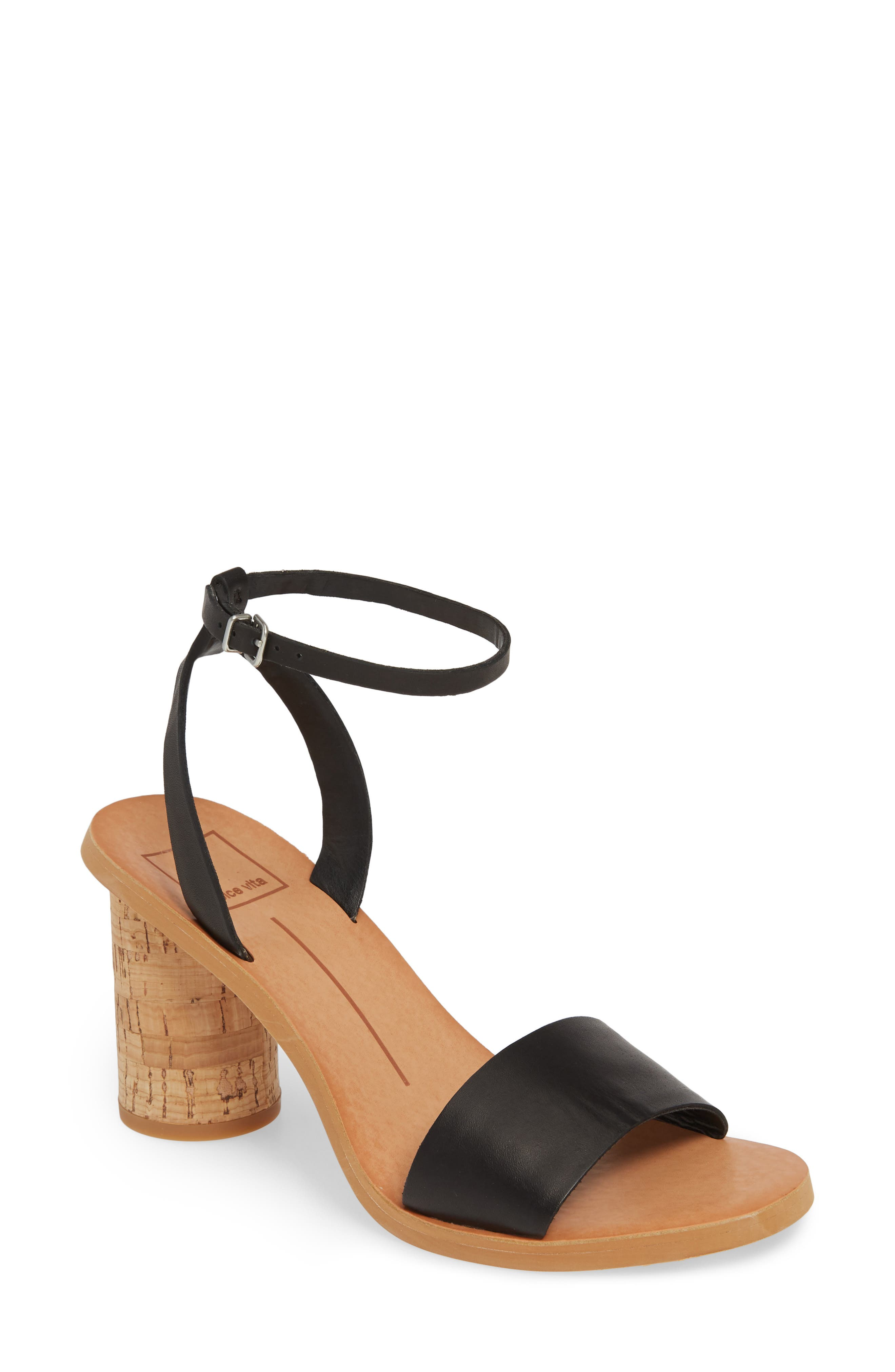 DOLCE VITA Jali Column Heel Sandal, Main, color, BLACK LEATHER