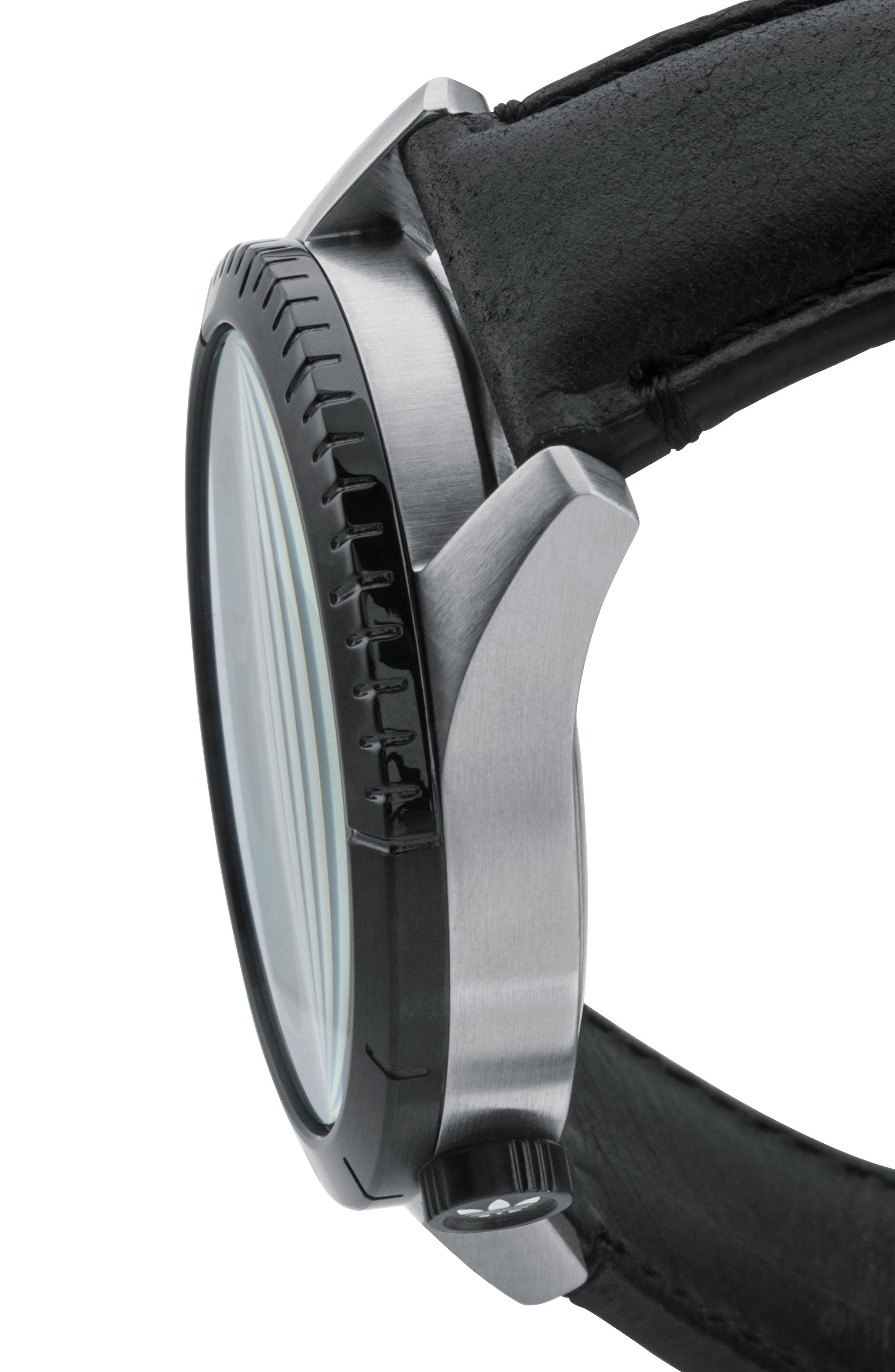 ADIDAS, Cypher Leather Strap Watch, 42mm, Alternate thumbnail 3, color, SILVER/ BLACK/ GREEN