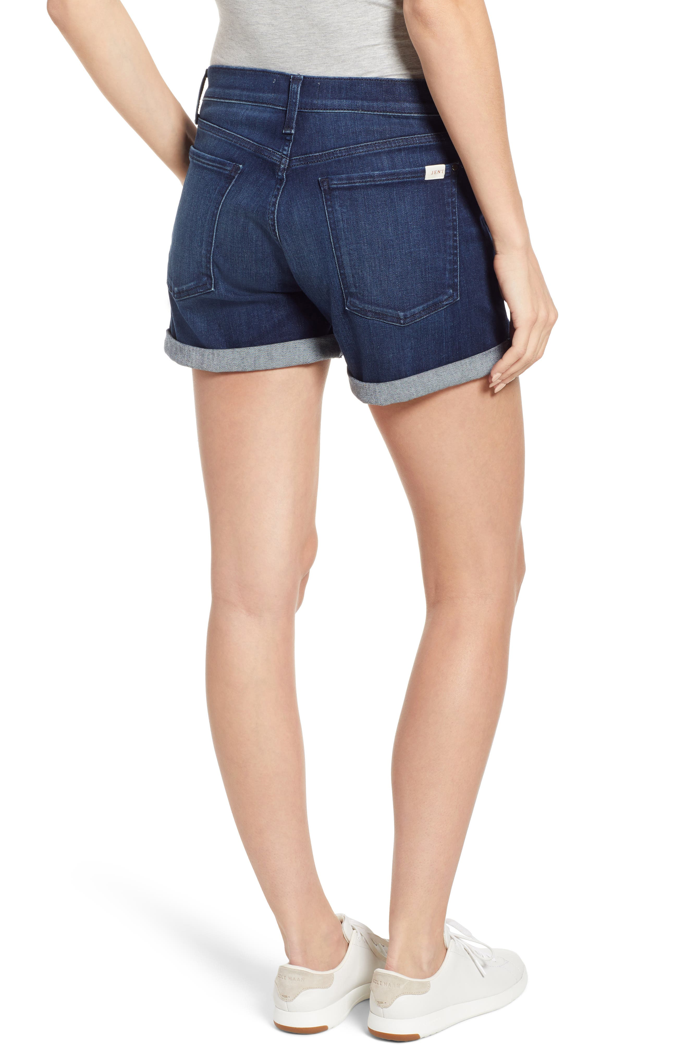 JEN7 BY 7 FOR ALL MANKIND, Roll Cuff Denim Shorts, Alternate thumbnail 2, color, IMPERIAL INDIGO