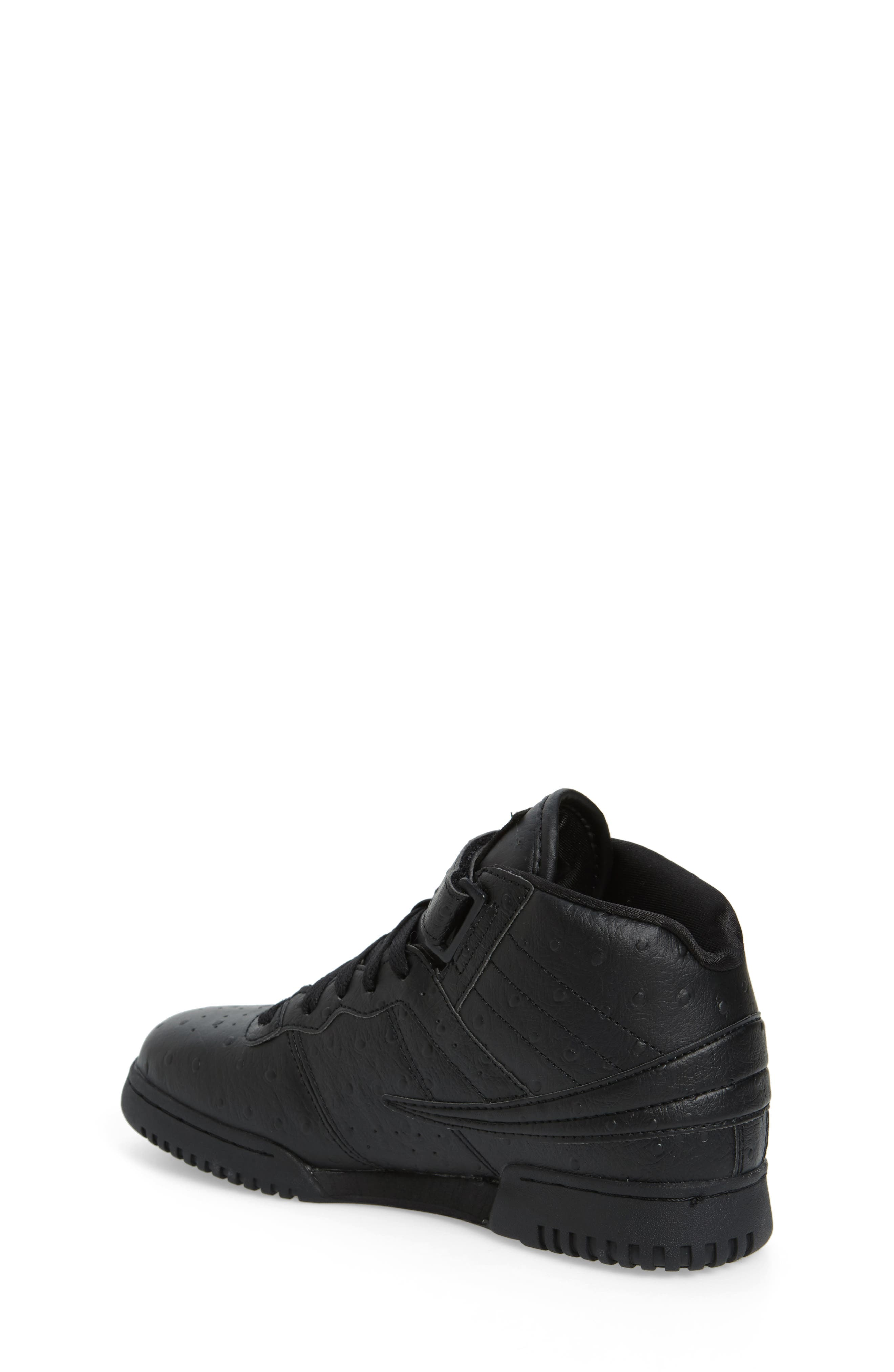 FILA, F-13 Ostrich Embossed High Top Sneaker, Alternate thumbnail 2, color, TRIPLE BLACK