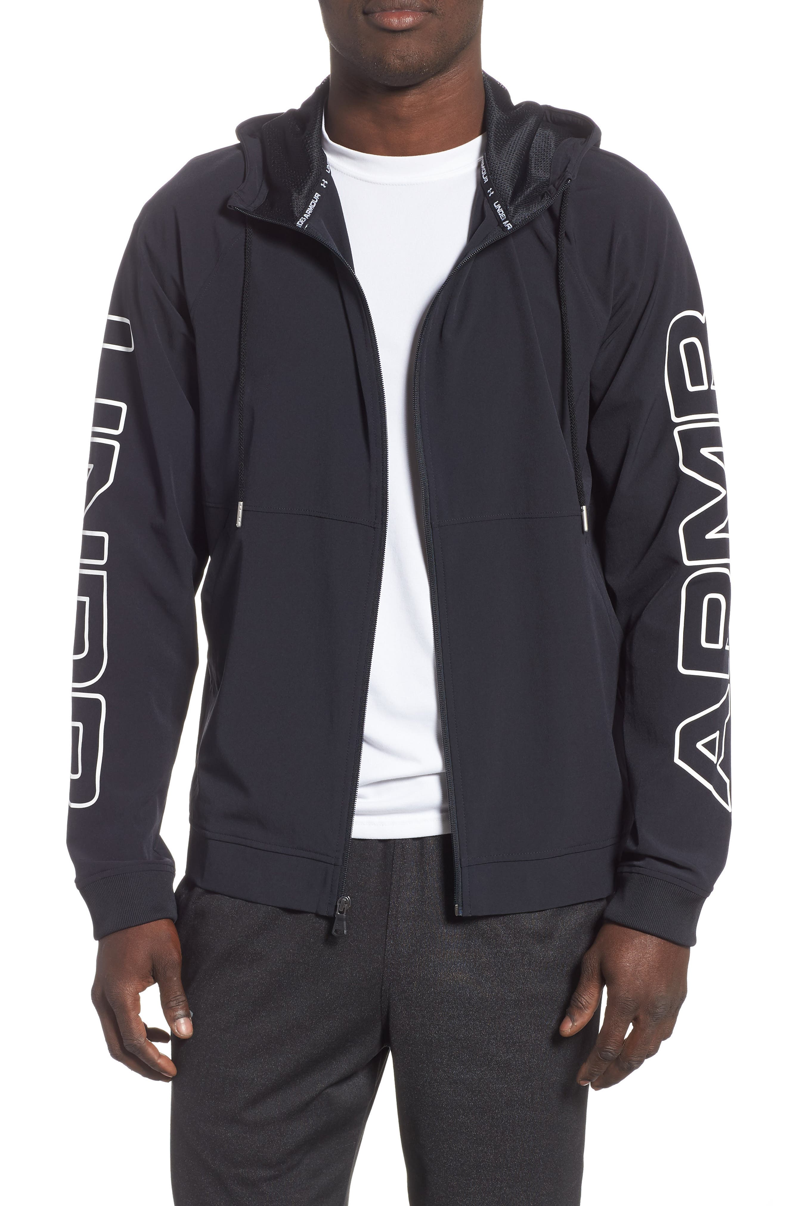 UNDER ARMOUR, Baseline Hooded Jacket, Main thumbnail 1, color, 001