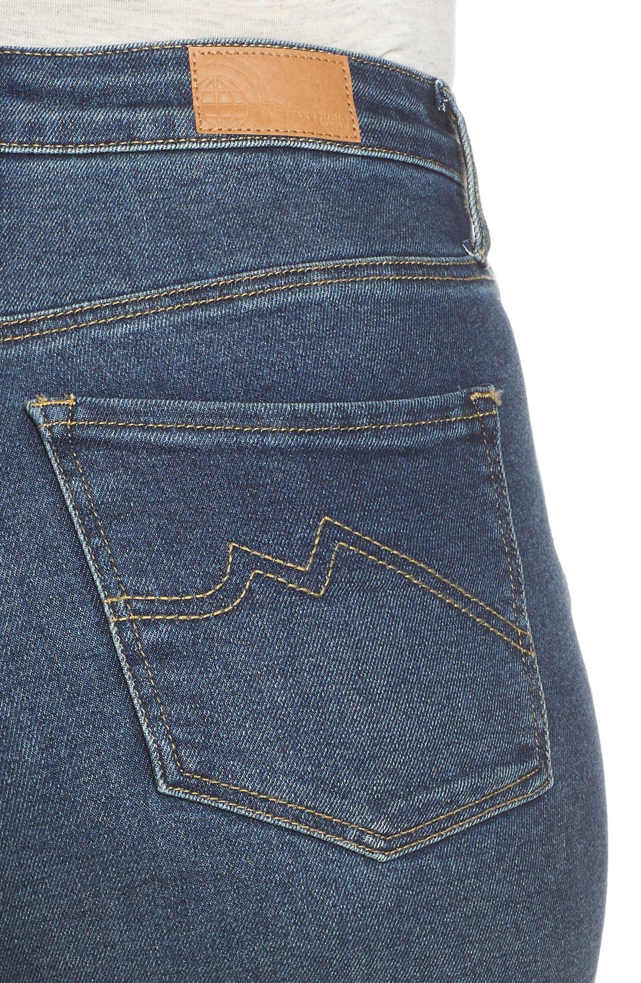 MAXSTUDIO INDIGO, High Waist Crop Skinny Jeans, Alternate thumbnail 5, color, JADE