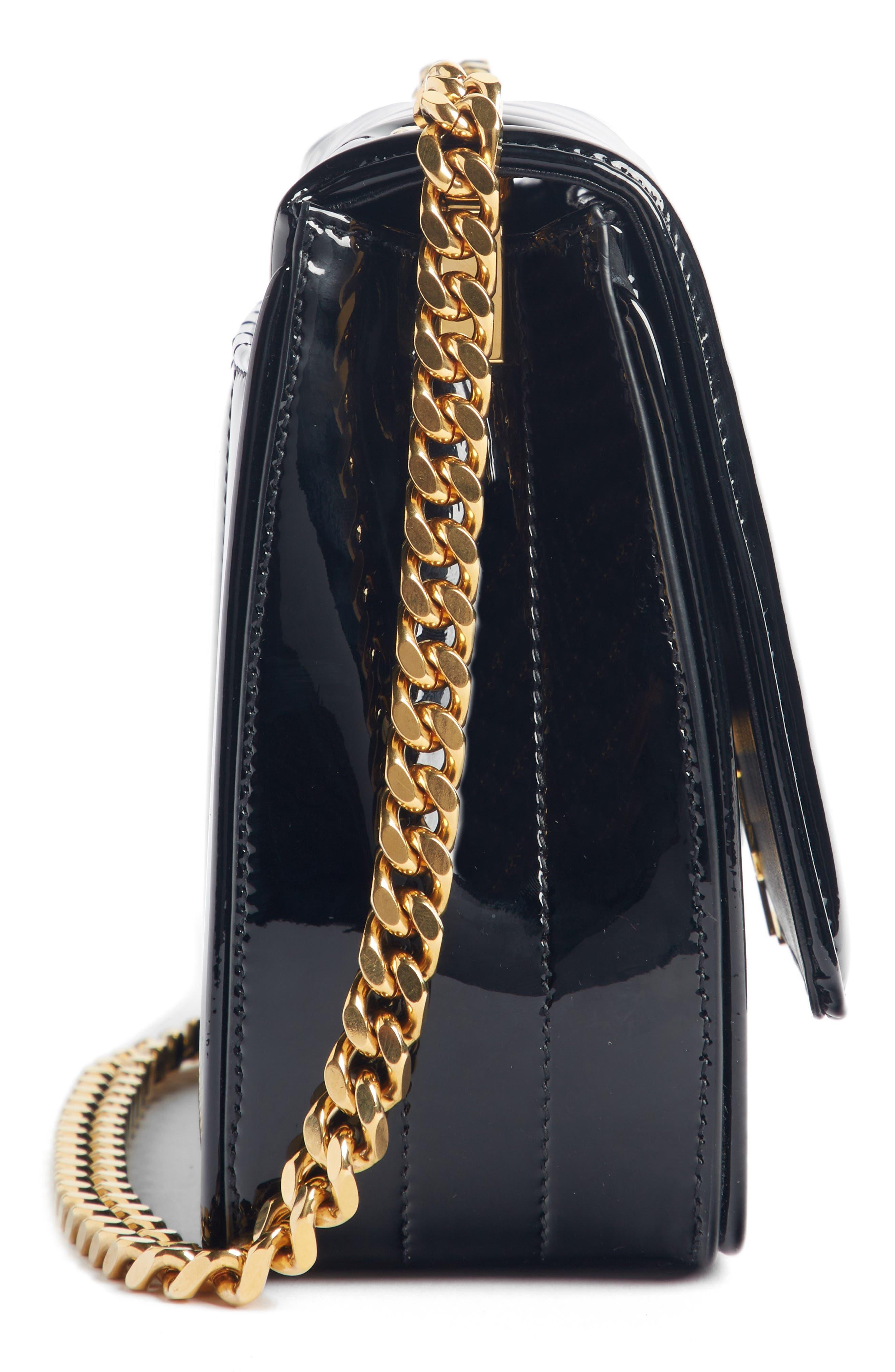 SAINT LAURENT, Small Vicky Patent Leather Crossbody Bag, Alternate thumbnail 3, color, NOIR
