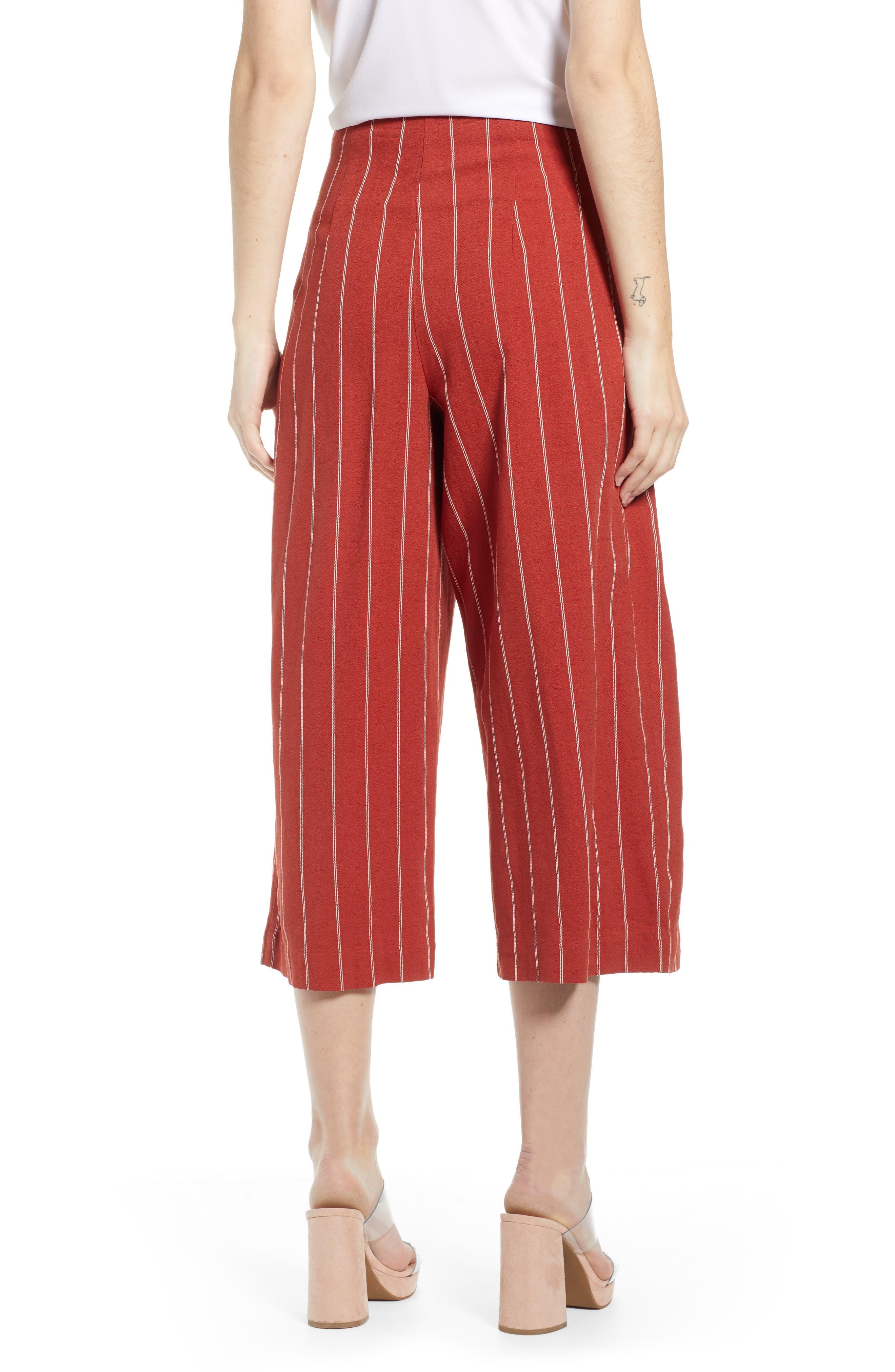J.O.A., Wide Leg Linen & Cotton Pants, Alternate thumbnail 2, color, BRICK STRIPE