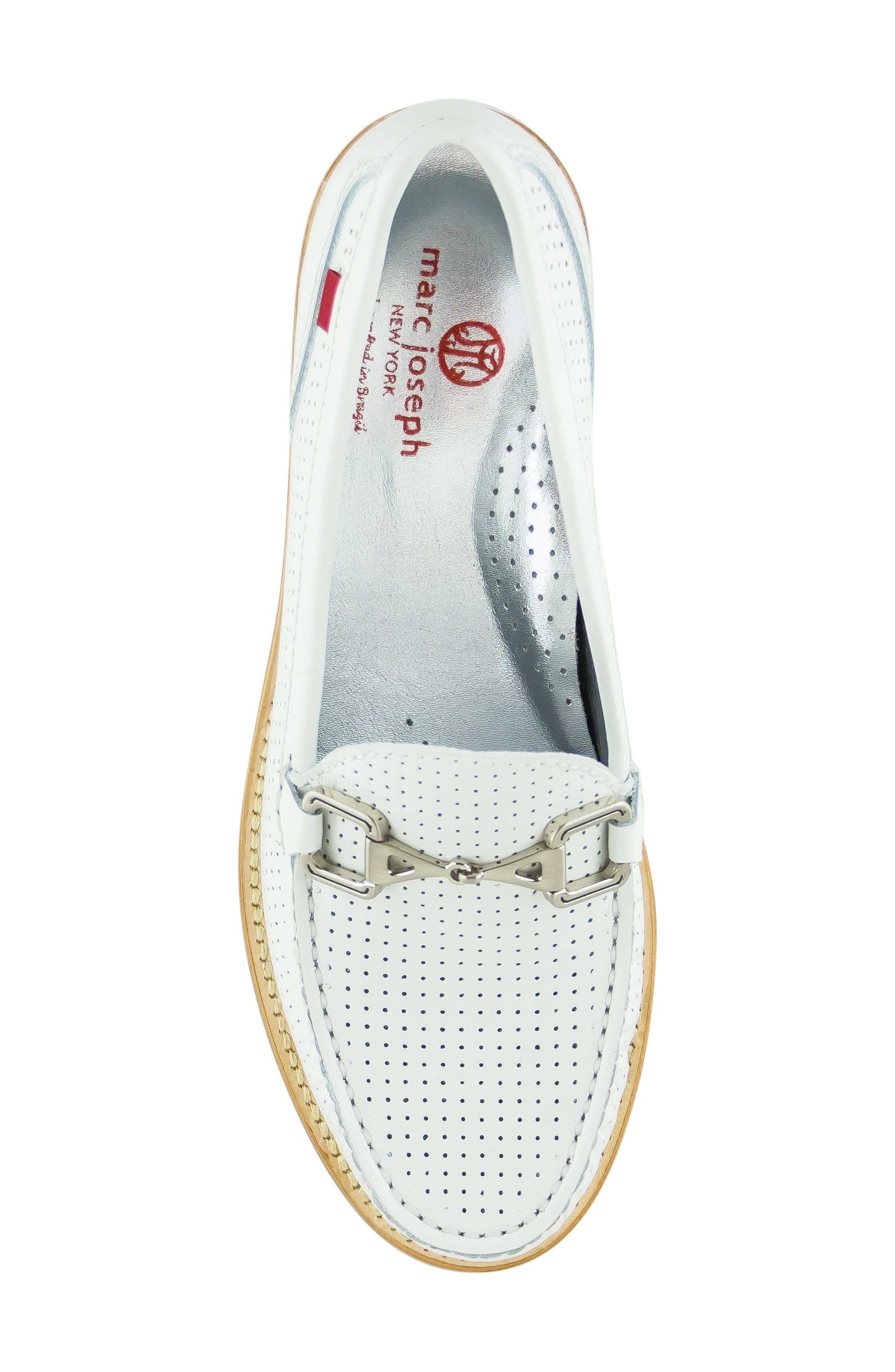MARC JOSEPH NEW YORK, Park Ave Perforated Loafer, Alternate thumbnail 5, color, WHITE LEATHER