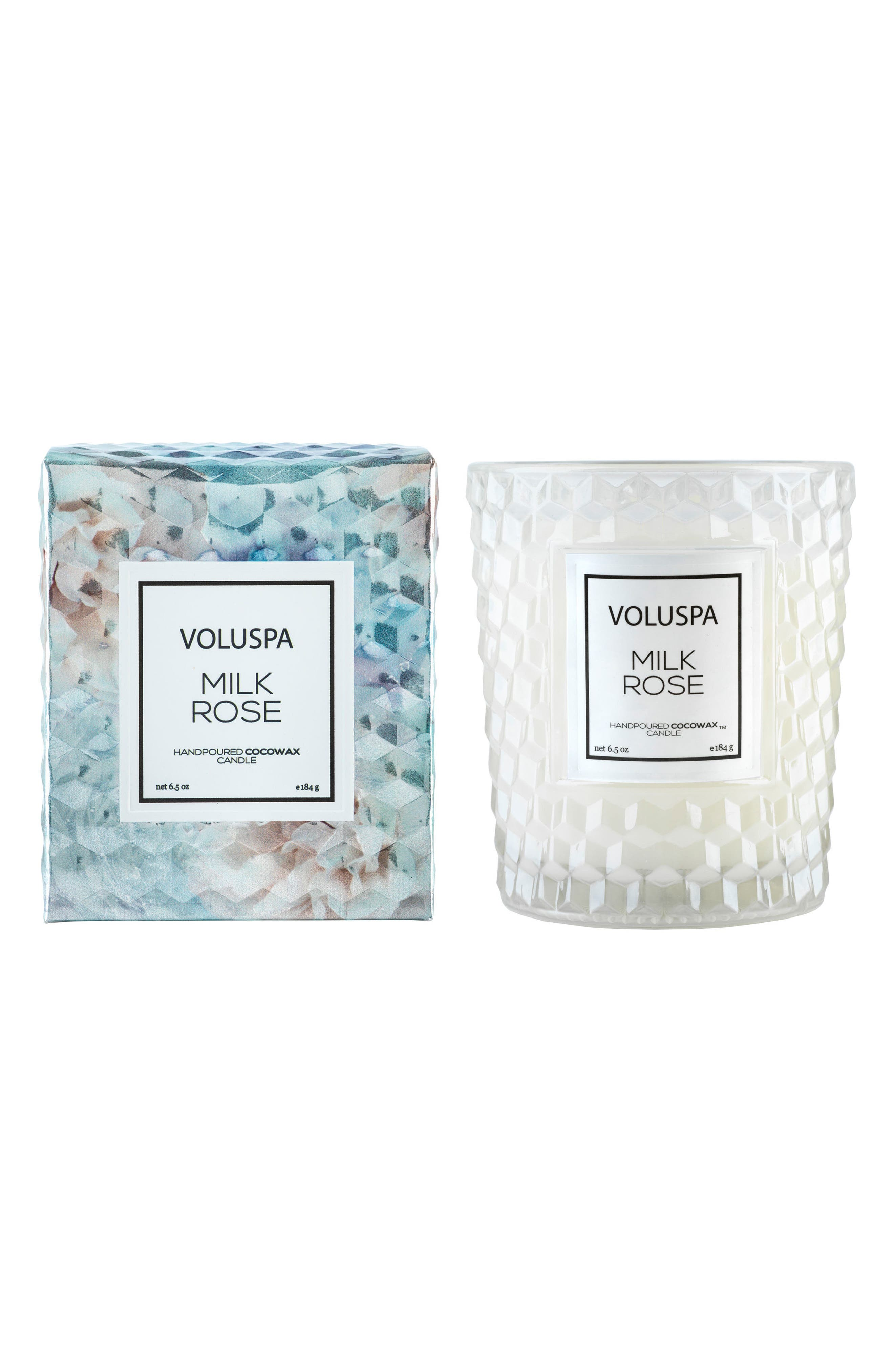 VOLUSPA, Roses Classic Textured Glass Candle, Alternate thumbnail 2, color, MILK ROSE