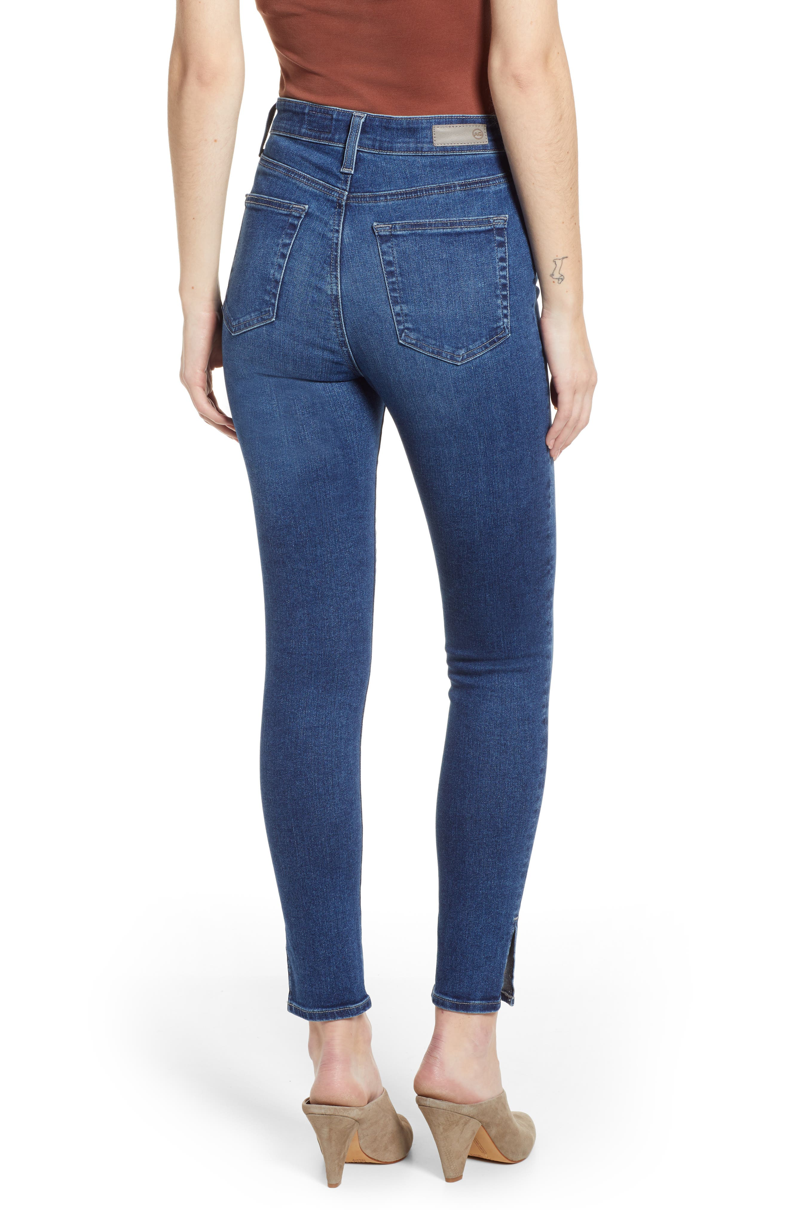 AG, The Mila Super High Waist Ankle Skinny Jeans, Alternate thumbnail 2, color, CRYSTAL CLARITY