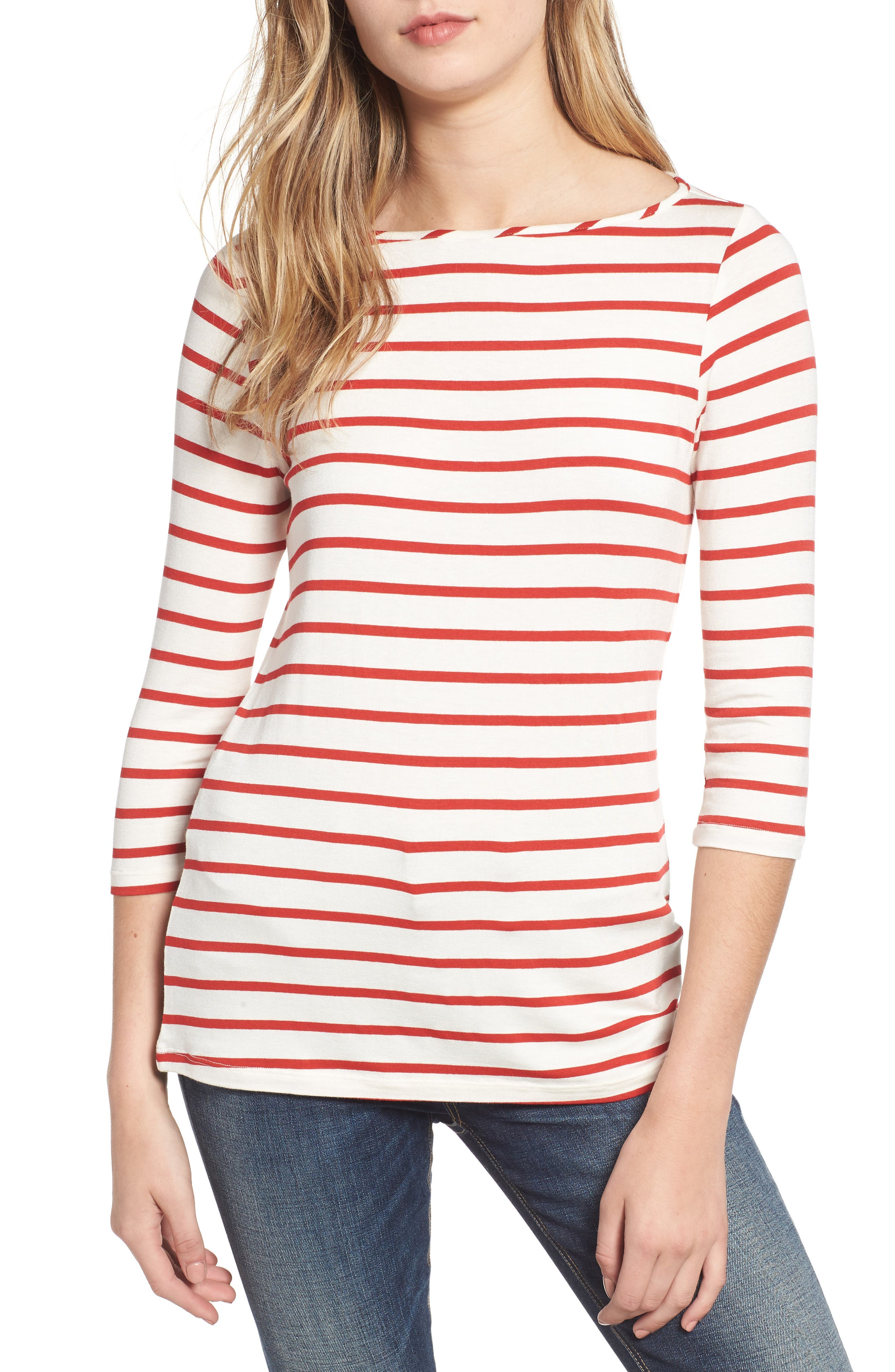 AMOUR VERT, Francoise Stretch Jersey Top, Main thumbnail 1, color, POPPY STRIPE