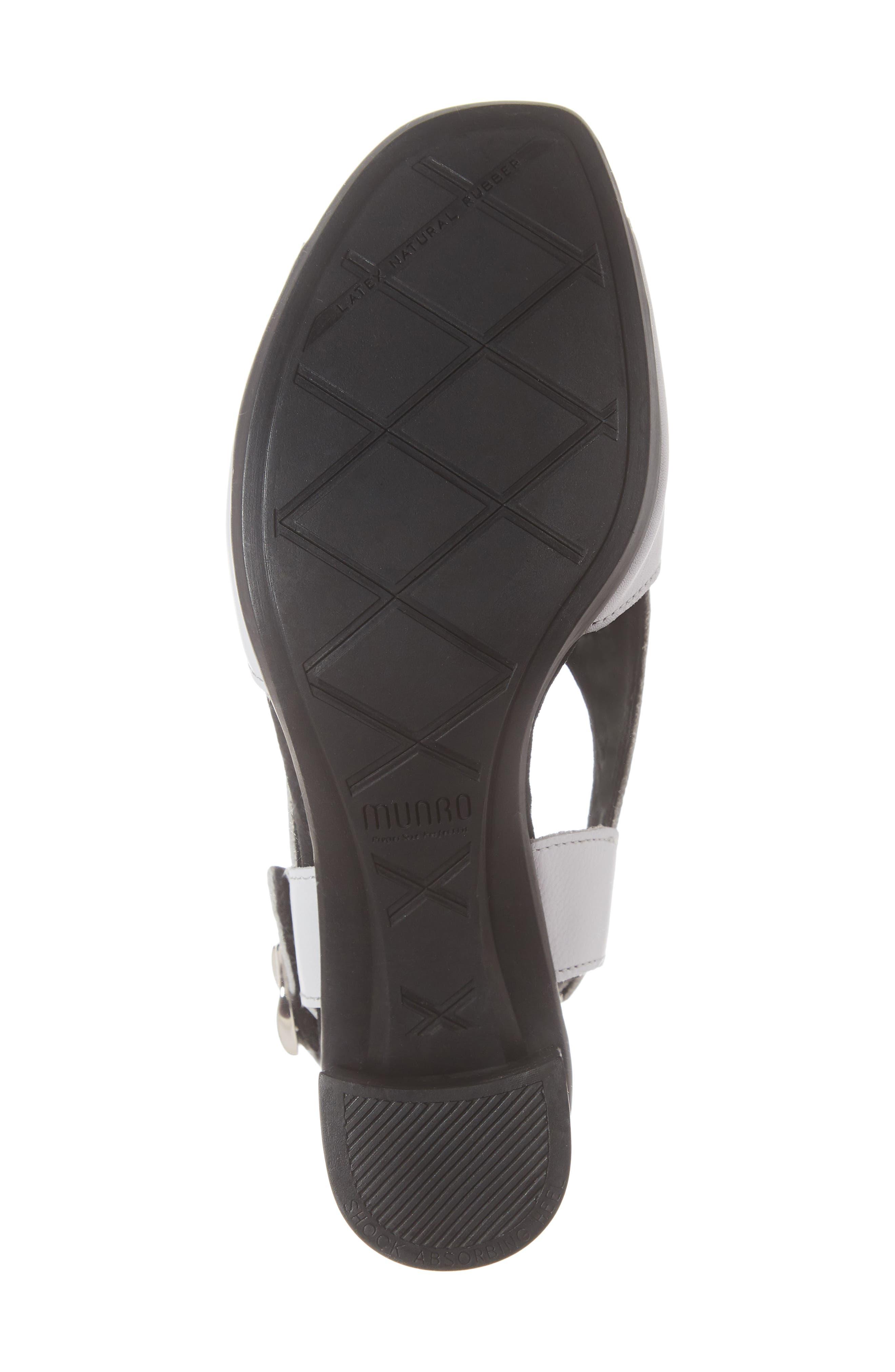 MUNRO, Laine Block Heel Sandal, Alternate thumbnail 6, color, WHITE LEATHER