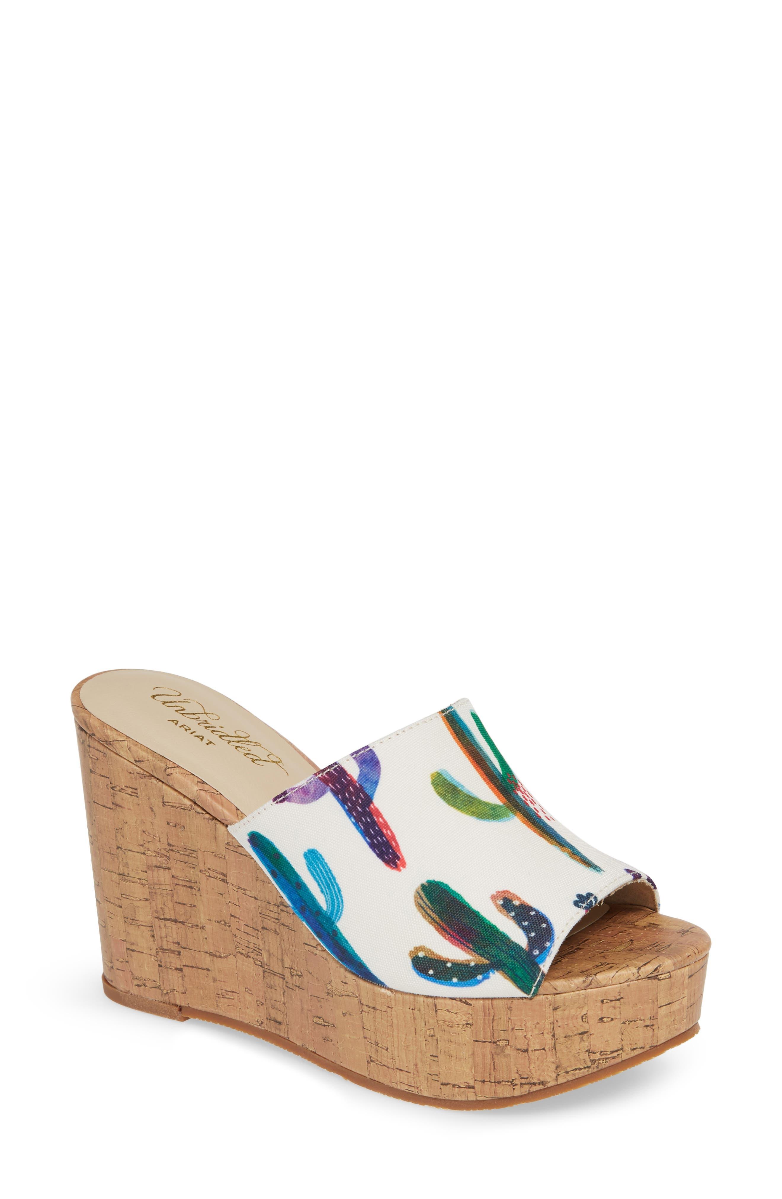 ARIAT Layla Wedge Slide Sandal, Main, color, CACTUS PRINT FABRIC